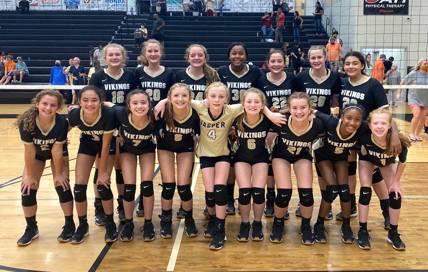 Pictured is the 2021 seventh-grade Jasper Jr. High girls volleyball team that just completed an undefeated season.