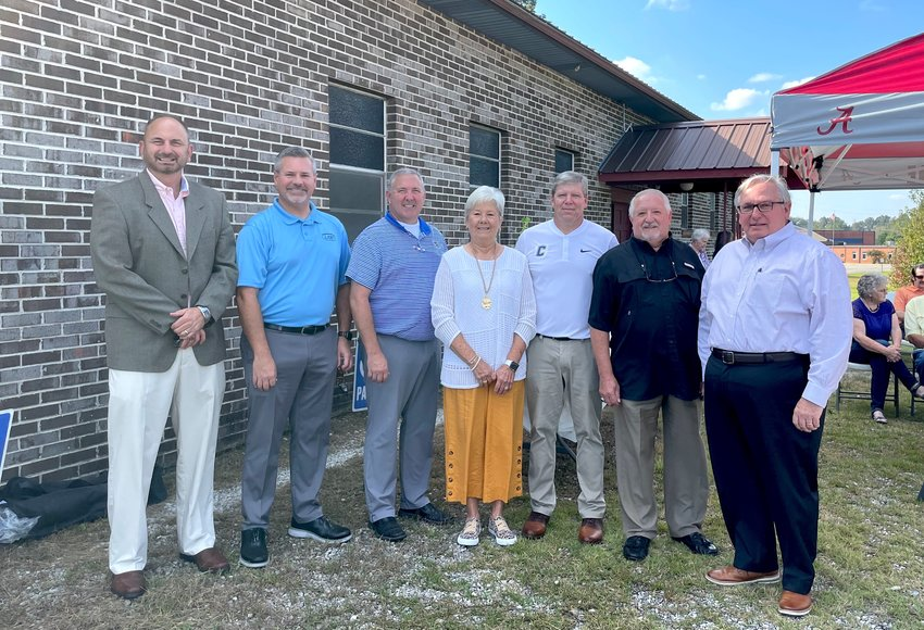 A dedication ceremony occurred on Sunday to state the intent for Curry United Methodist Church and its property to be donated to Walker County Schools. Pictured is Walker County Schools Superintendent Dr. Dennis Willingham, WCS CSFO Andrew McCay, Curry High Principal Eric Woodley, Brenda Drummond, school board member Trent Kennedy, Paul Sullivan, and Dr. Rick Owen of the Central District North Alabama Conference of the United Methodist Church.