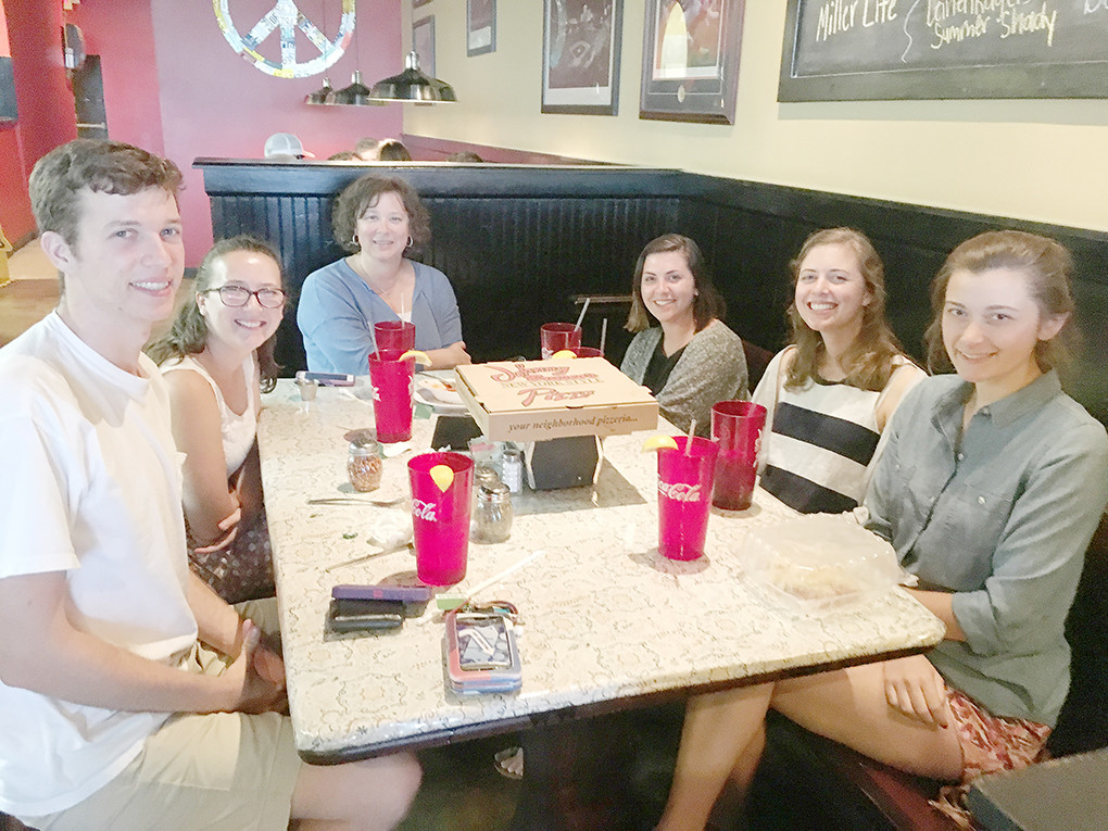University of Alabama students Matthew Zeliff, Cokie Thompson, Ally Siegler, Madison Drury and Sarah Johns share a meal with Cristy Moody of the Walker Area Community Foundation. The students have been living in Jasper and working with local nonprofits this summer. Special to the Eagle