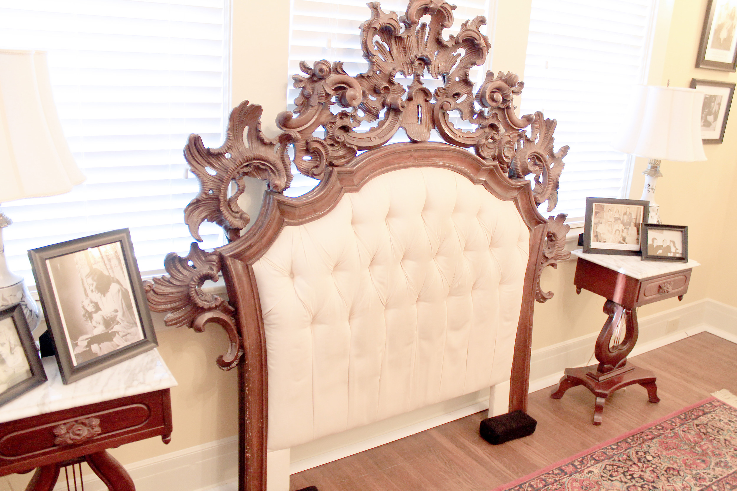 This headboard, which was housed in Tallulah Bankhead's New York City townhouse from 1957 until her death in 1968, has been on display at the Bankhead House and Heritage Center since October. Daily Mountain Eagle - Jennifer Cohron