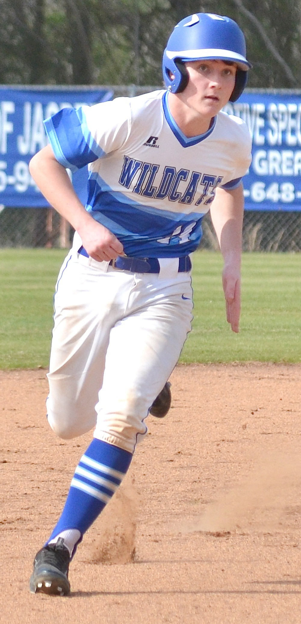 Oakman's Alex Ford runs the bases during a win over Cordova early in the season. The Wildcats won their area opener on Tuesday, beating Vinemont 7-1.