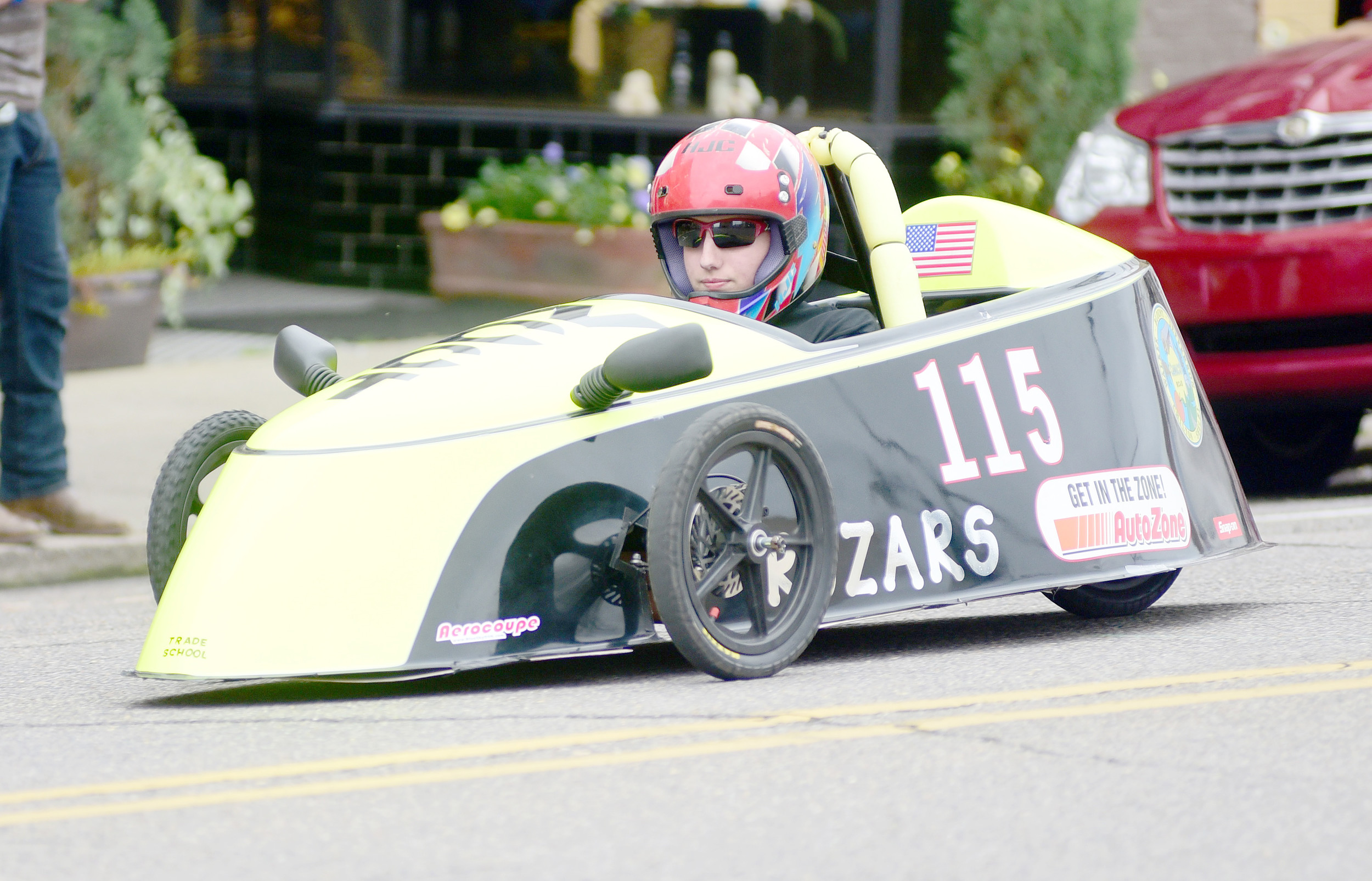 A  driver for the Walker County Center of Technology competes in last year's Electrathon Grand Prix in downtown Jasper. This year's race is set for Saturday and is expected to bring 13 teams from across the state in to compete. Daily Mountain Eagle - Ron Harris
