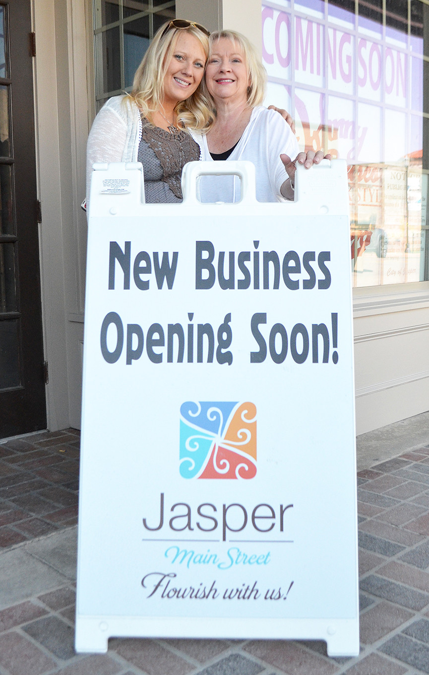 Owners Bethanne Wilson, left, and Janie Wilson stand in front of the new Johnny Brusco's location in downtown Jasper.   Daily Mountain Eagle - Nicole Smith