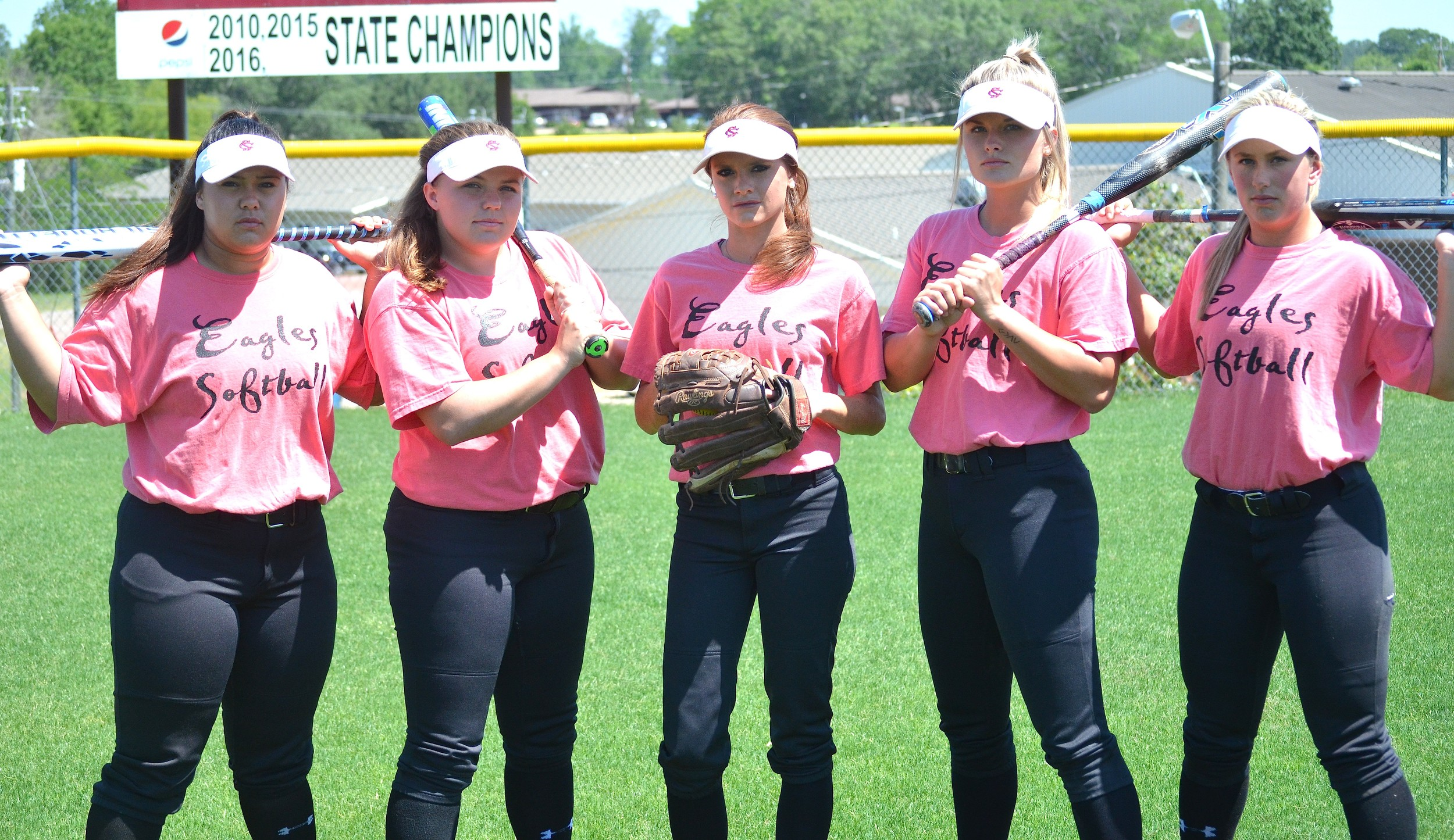 Sumiton Christian seniors, from left, Jenna Ergle, Abbey Bice, Kamree Lay, Kendall Beth Sides and Savanah Langston, are going for their third straight state softball championship. The Eagles play Marion County on Thursday in Montgomery.