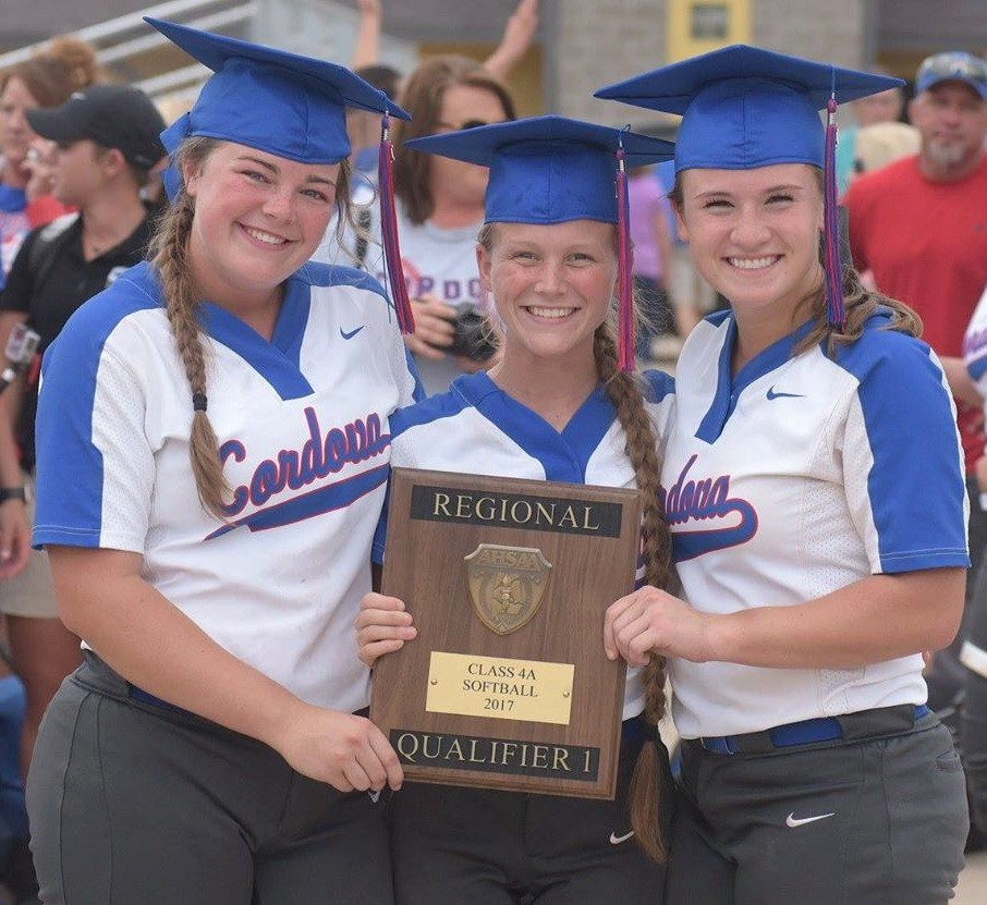 Cordova seniors, from left, Hannah Ingram, Kristan Swindle and Baleigh Robertson, have the Blue Devils back at the State Softball Tournament.