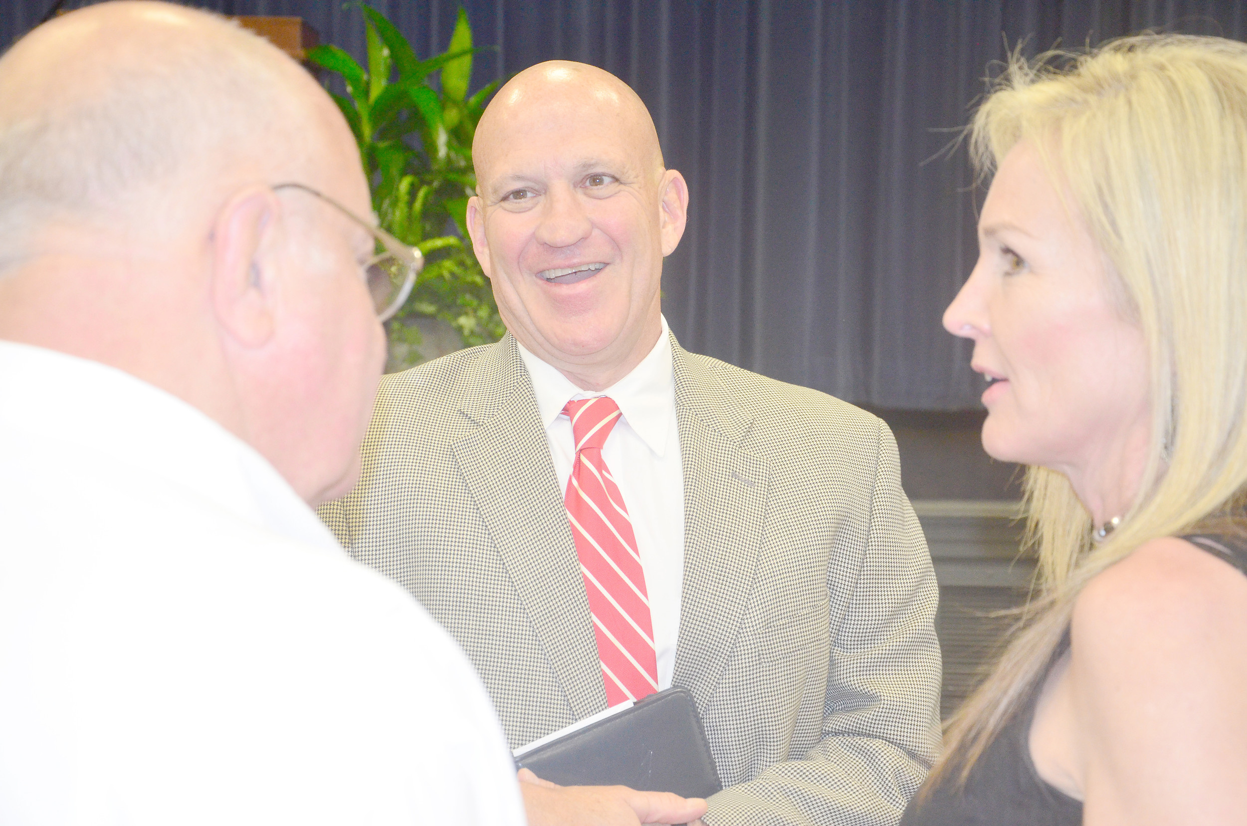 Charles L. Karr, dean of engineering at the University of Alabama, speaks to guests at Wednesday's Chamber of Walker County breakfast. Daily Mountain Eagle - James Phillips
