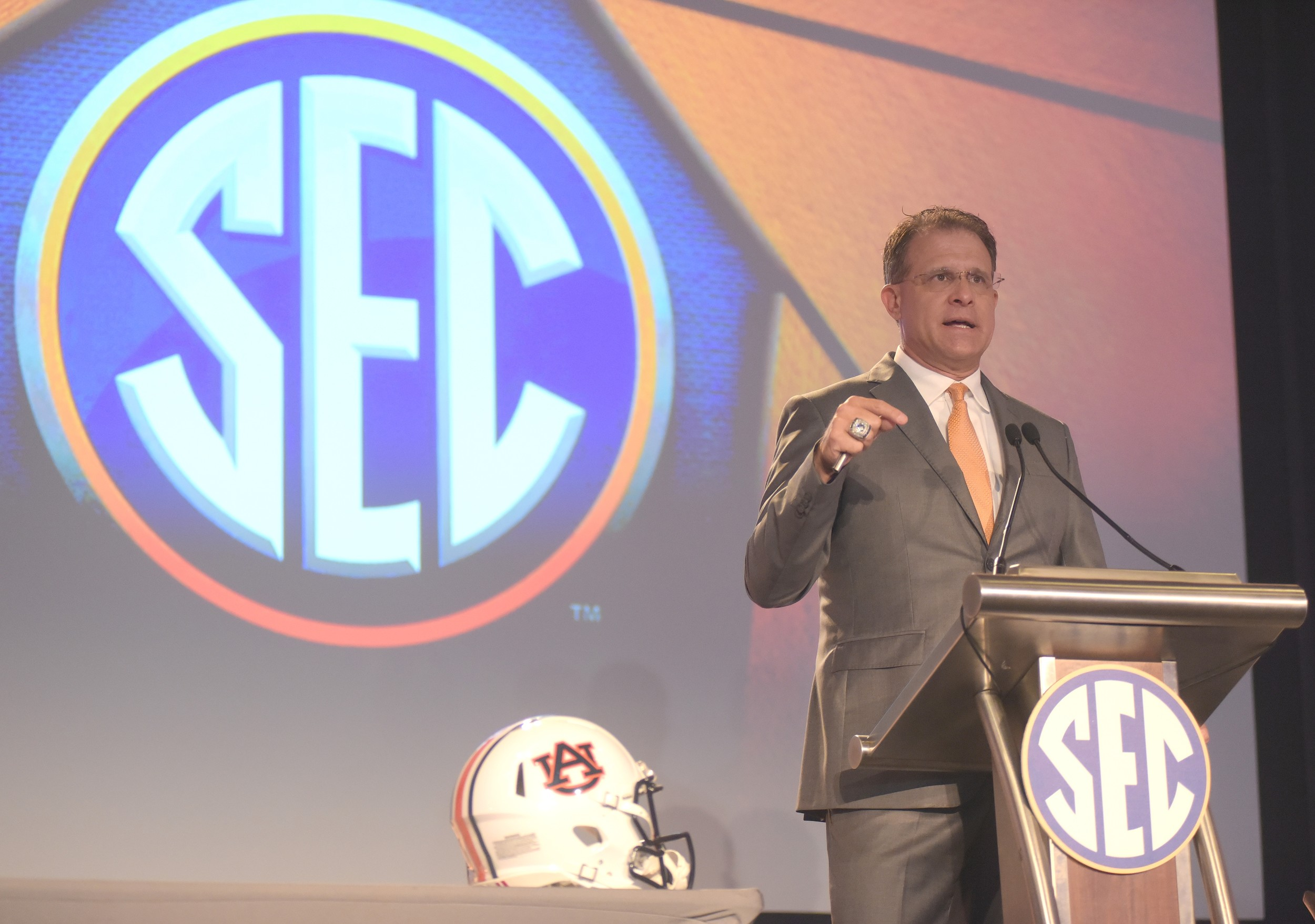 Auburn football coach Gus Malzahn speaks during day 4 of SEC Media Days Thursday at the Hyatt Recency - The Wynfrey Hotel in Hoover. Along with Malzahn, South Carolina's Will Muschamp and Ole Miss' Hugh Freeze addressed the media on Thursday.