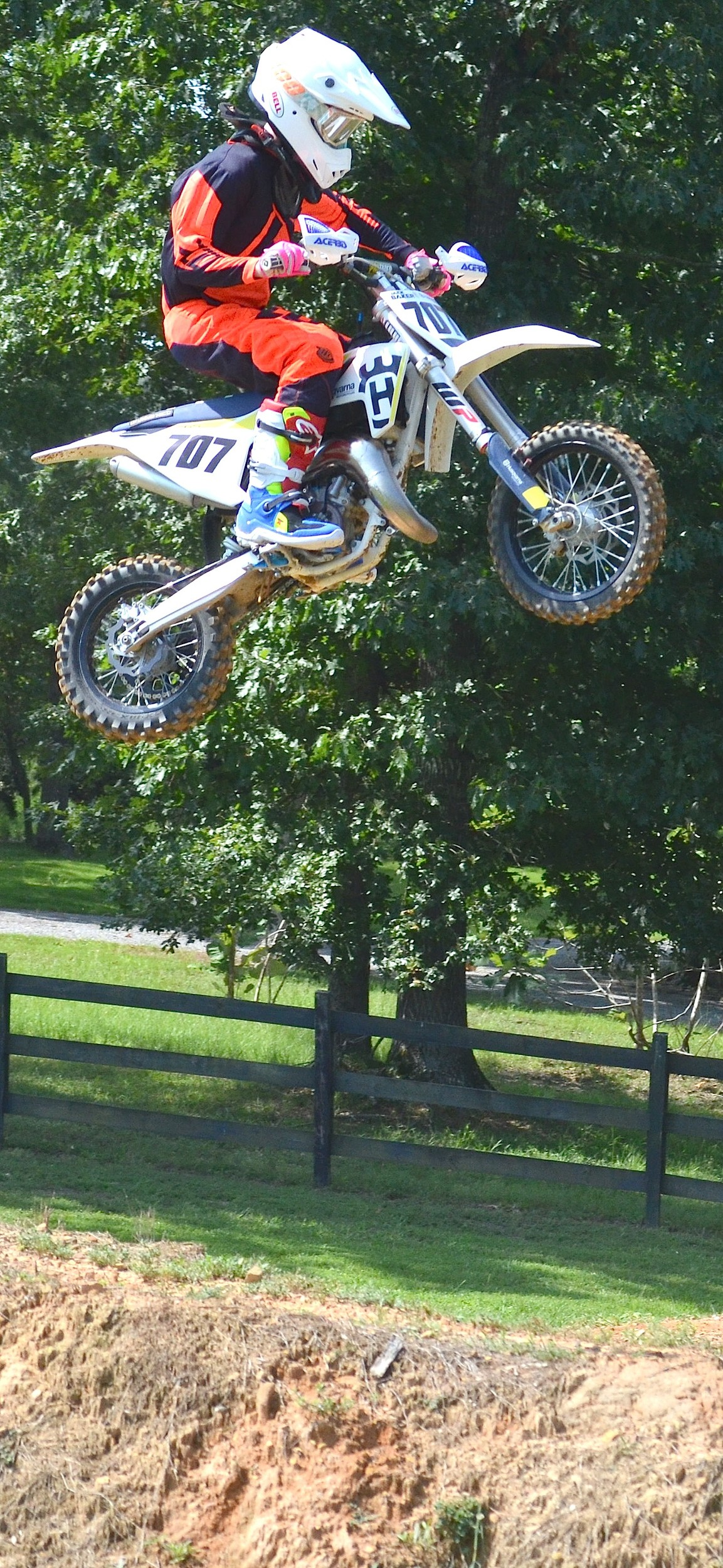 Jack Baker practices on the track at his house in Arley. The 12 year old will compete in the Rocky Mountain ATV/MC National Motocross Championship at Loretta Lynn's Ranch in Hurricane Mills, Tenn., this week.
