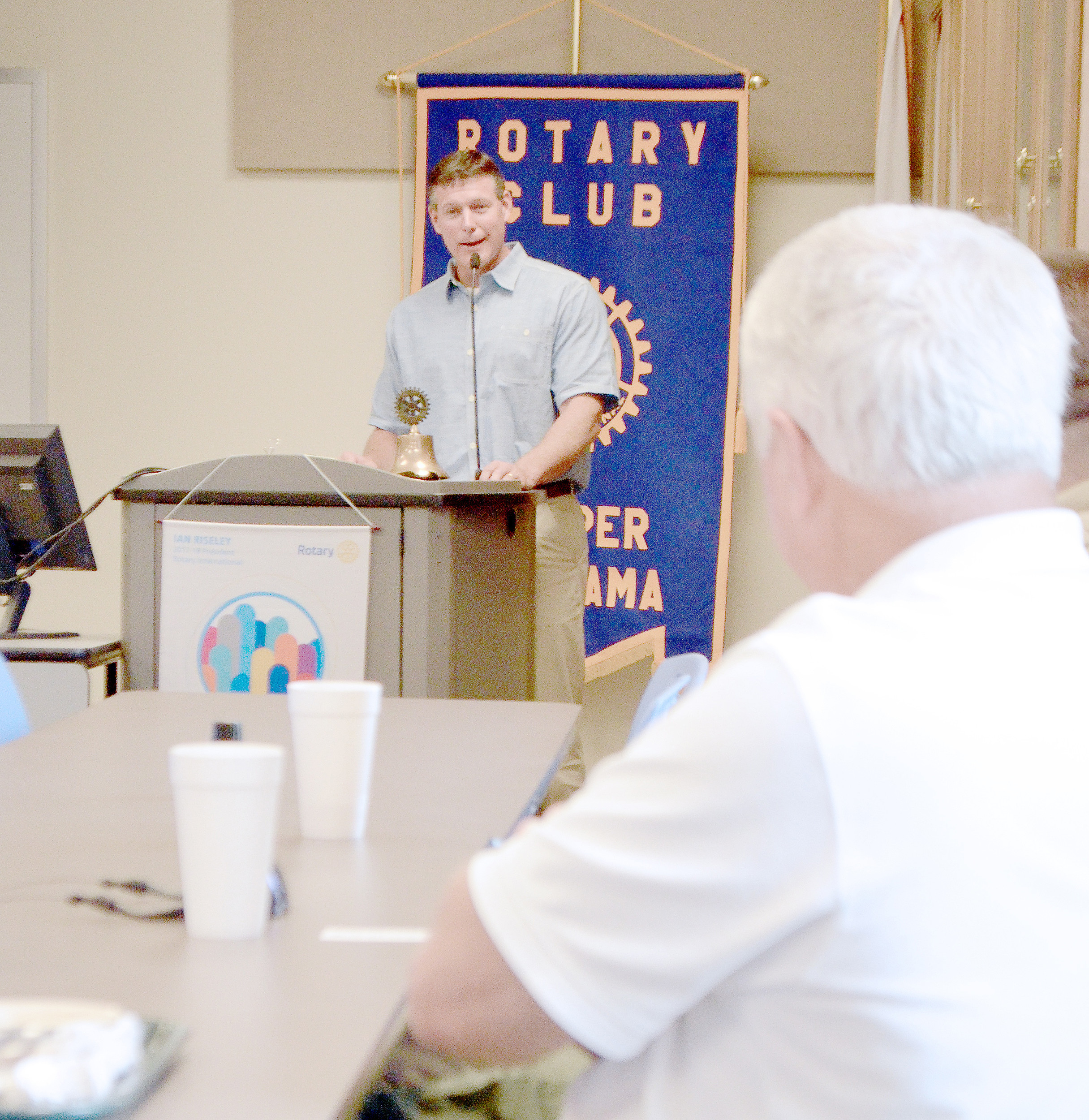 Walker County Schools Superintendent Dr. Jason Adkins addressed members of the Rotary Club of Jasper Tuesday. He spoke of where the school system stands financially, along with other matters. Looking on is Rotarian and Jasper Mayor David O'Mary. Daily Mountain Eagle - Nicole Smith