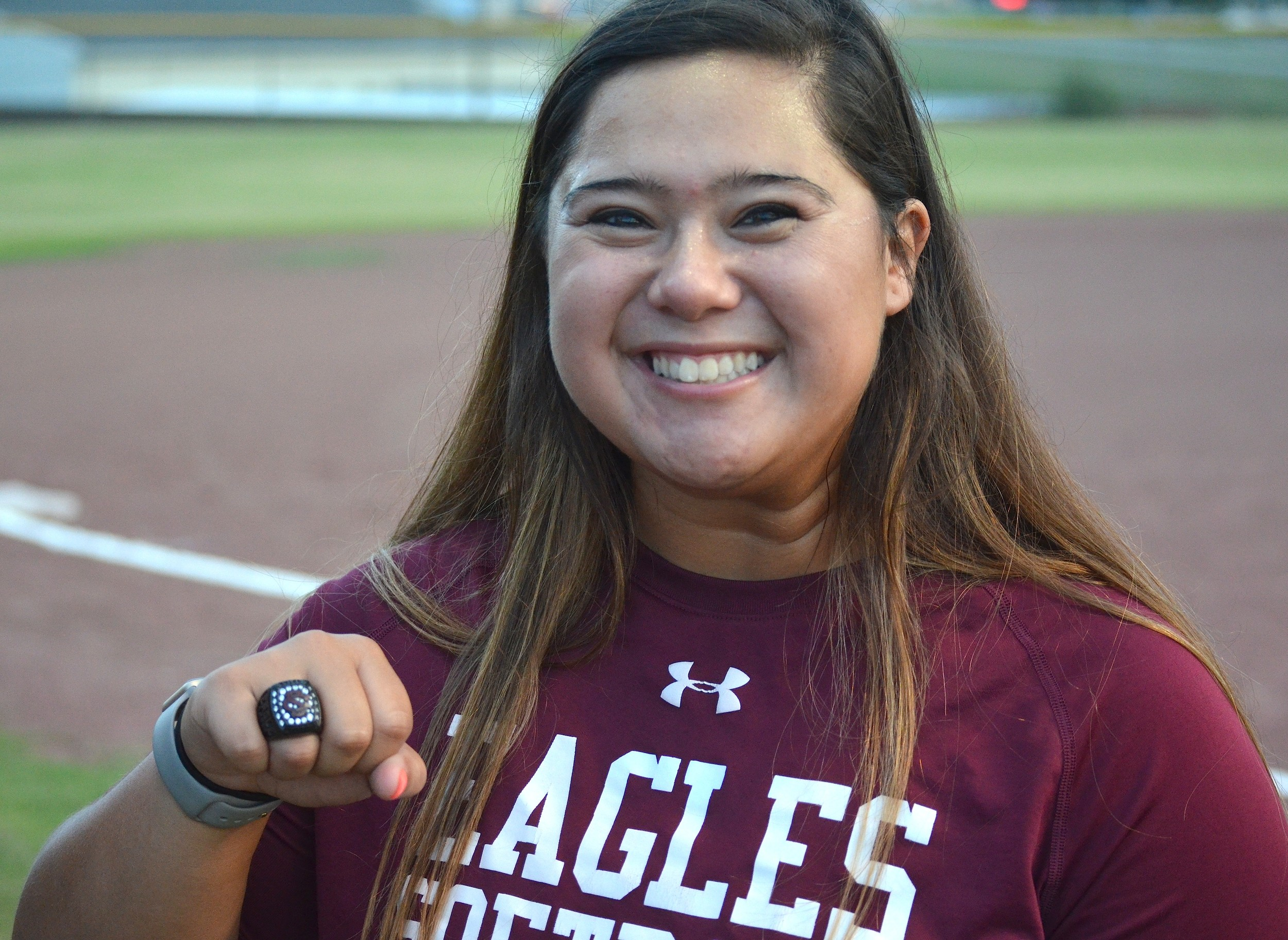 Sumiton Christian's Jenna Ergle shows off her state championship ring on Thursday. The Boston College signee left for her new school over the weekend.