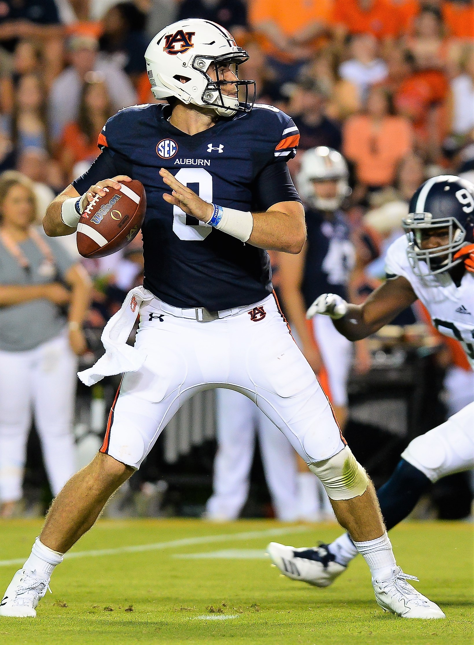 Auburn quarterback Jarrett Stidham looks for a receiver during the first half Saturday at Jordan-Hare Stadium in Auburn. Stidham threw a pair of touchdown passes and ran for another in his Auburn debut against Georgia Southern.