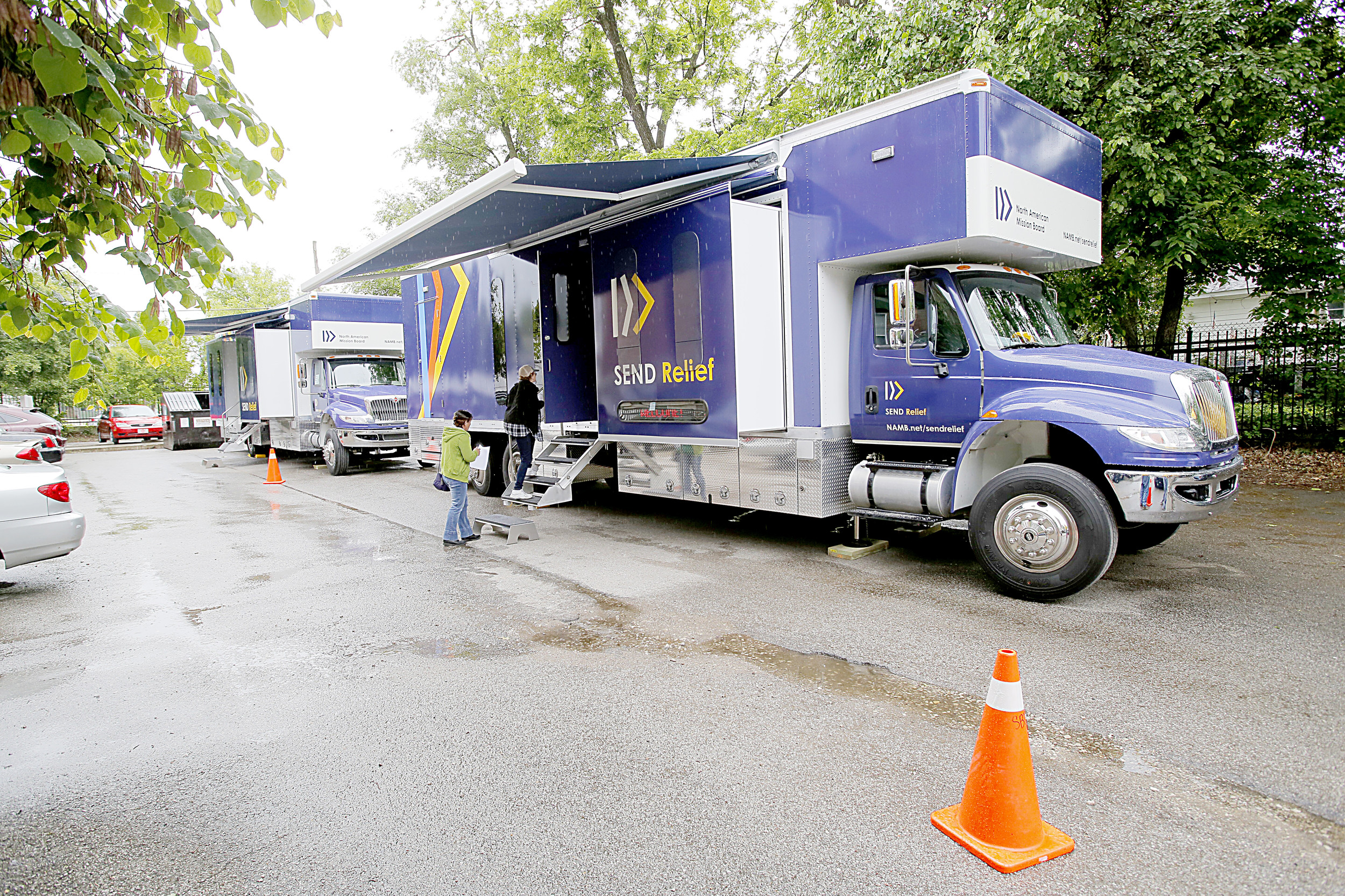 A mobile dental truck from the North American Mission Board like these will be at Jasper's First Baptist Church Thursday through Saturday to offer free dental service to area residents, using the services of local dentists. Photo Special to the Eagle