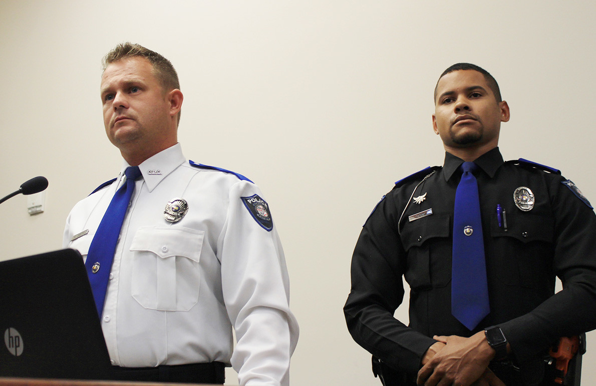 Cordova Police Chief Nick Smith, left, speaks to the Cordova City Council Tuesday with Officer Tony Reid. The council promoted Reid to assistant chief that night, with an eye to the possibility that Smith could be elected as sheriff next year.  Daily Mountain Eagle - Jennifer Cohron