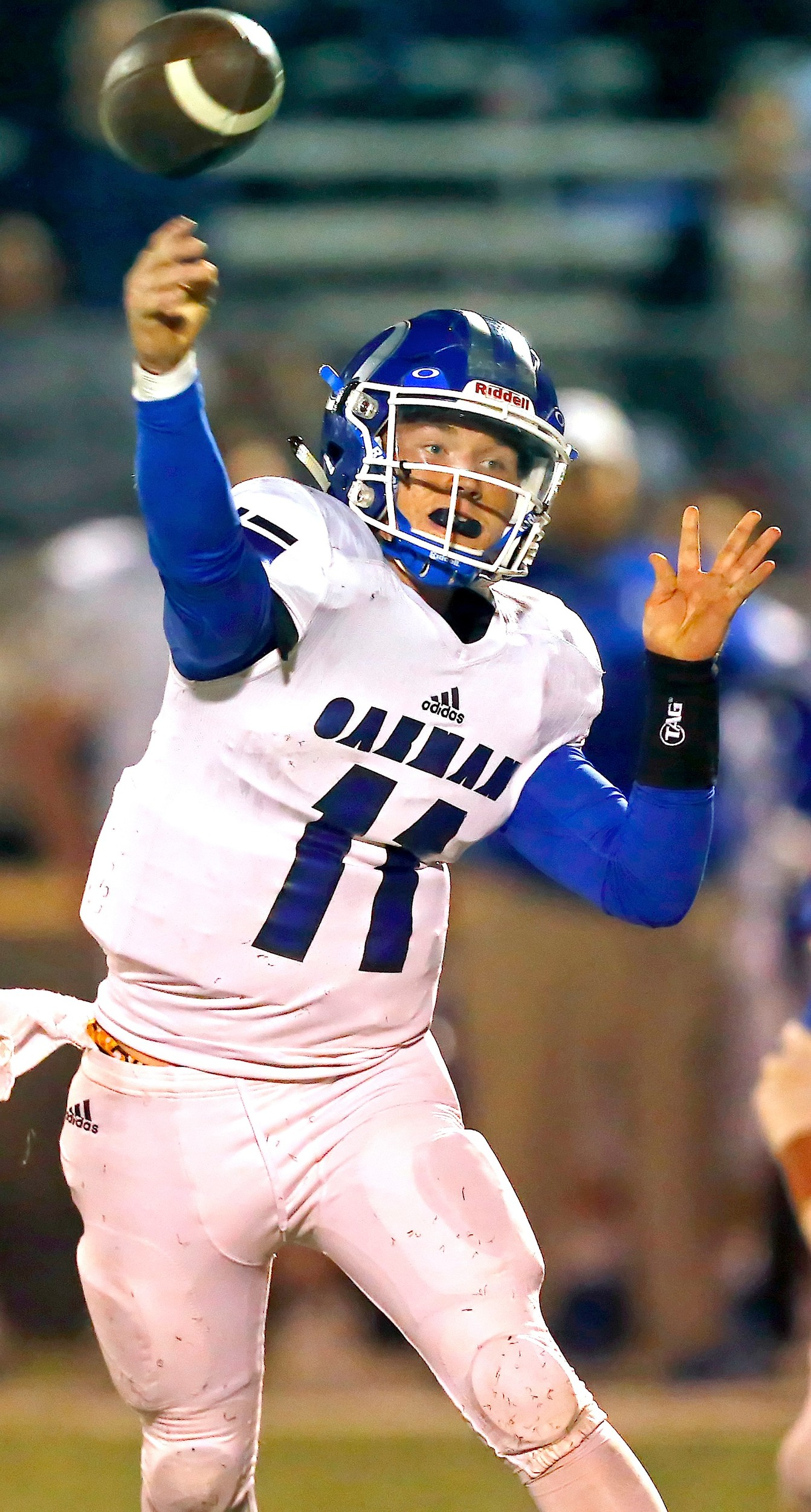 Oakman quarterback Jon Avery threw three touchdown passes against Daleville in Thursday night's 31-12 win over the Warhawks. With the win, Oakman earned a spot in the second round of the playoffs for the seventh straight season.