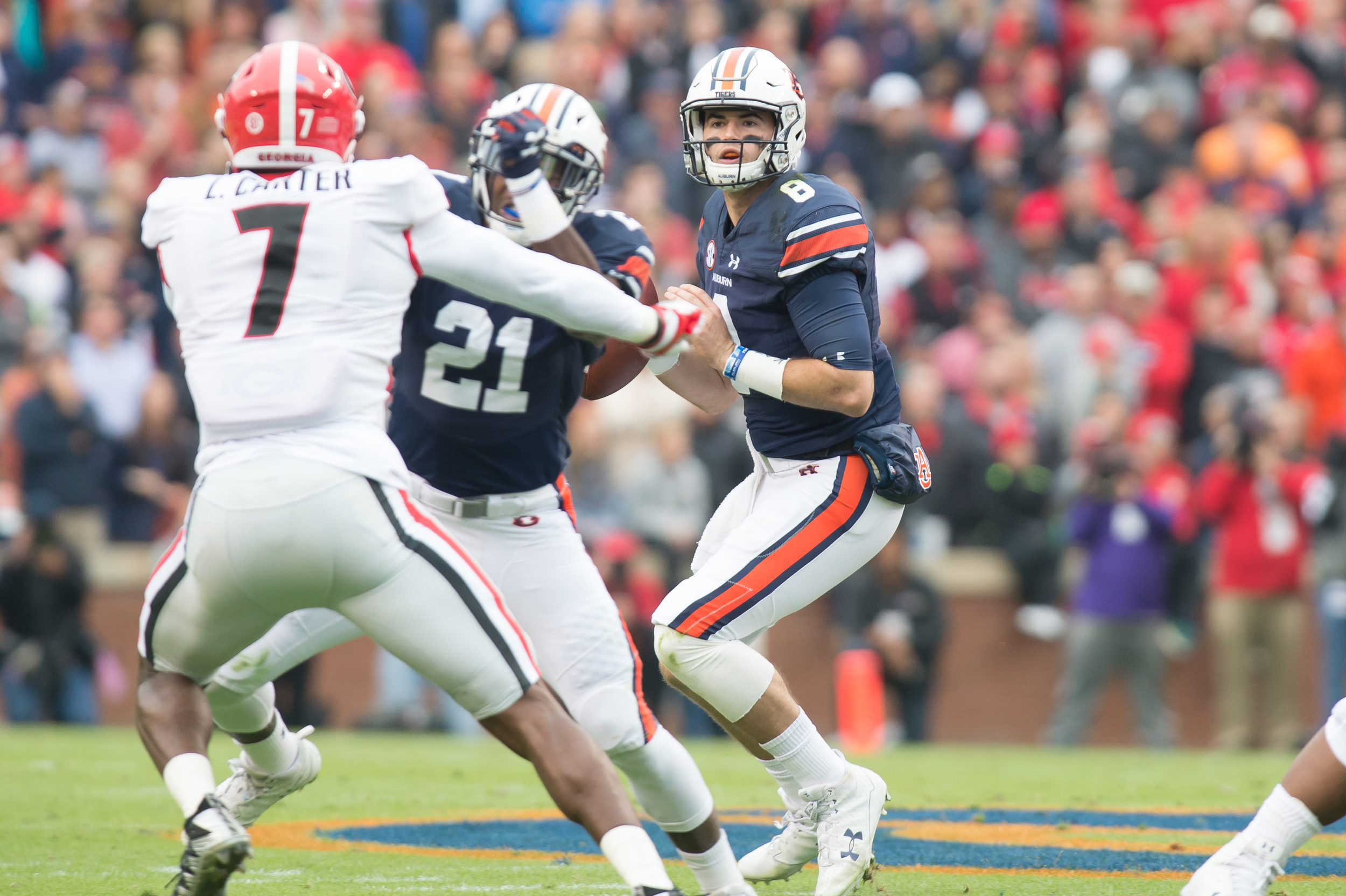 Auburn Tigers quarterback Jarrett Stidham (8) looks to throw during the first half of Saturday's game, at Jordan-Hare Stadium.