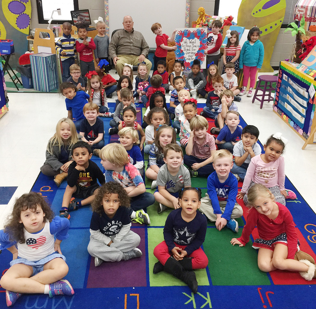 A former POW who served in Vietnam in the U.S. Air Force, Keith Lewis gives back by reading to Mrs. Barrera's Pre-K class every Wednesday. He says reading to Pre-K children is what God has called him to do at this time in his life.