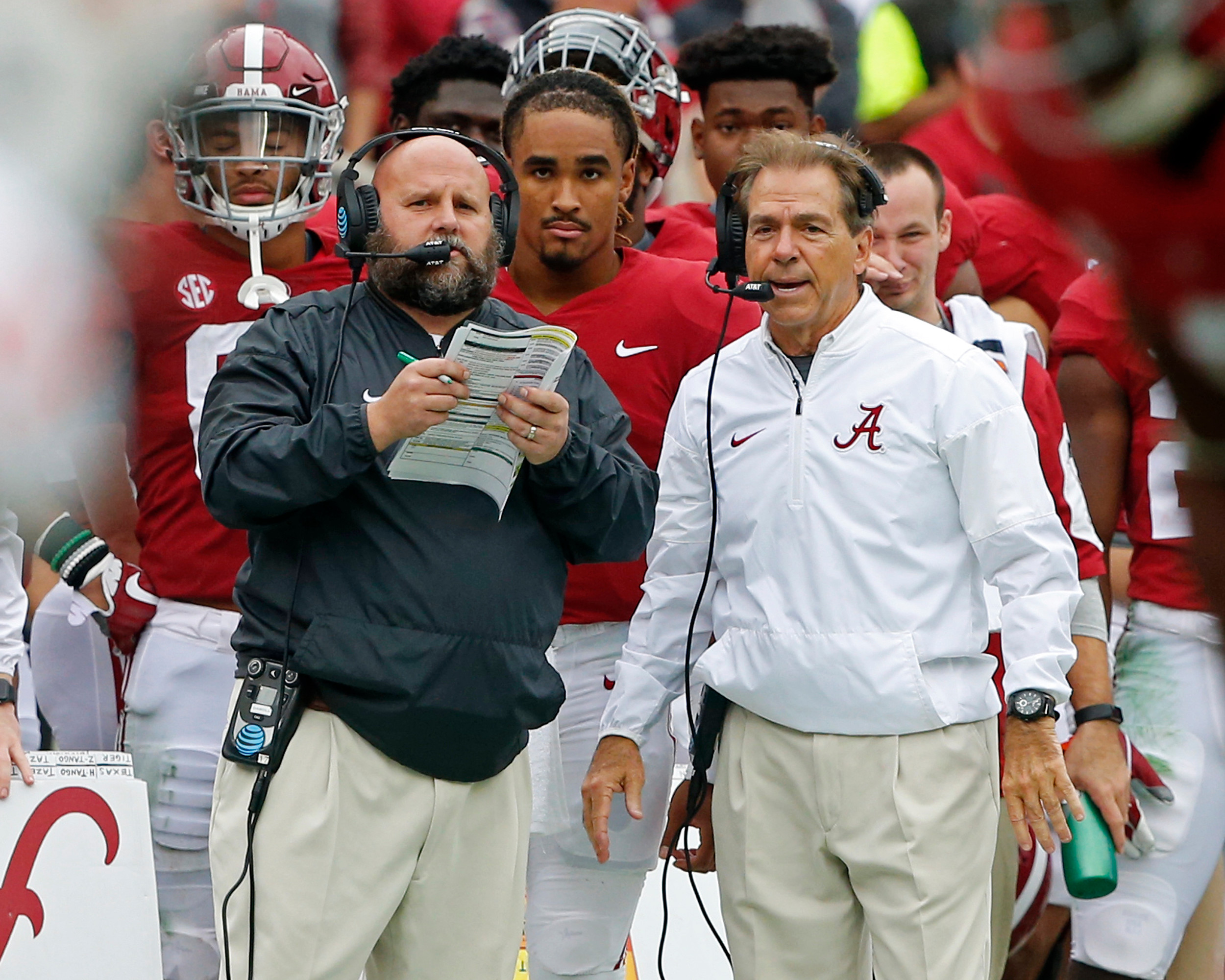 Saban speaks with Offensive Coordinator Bryan Dabol during the 1st half of the game between the Mercer Bears and the University of Alabama Crimson Tide at Bryant-Denny Stadium in Tuscaloosa, Al on 11/18/2017.