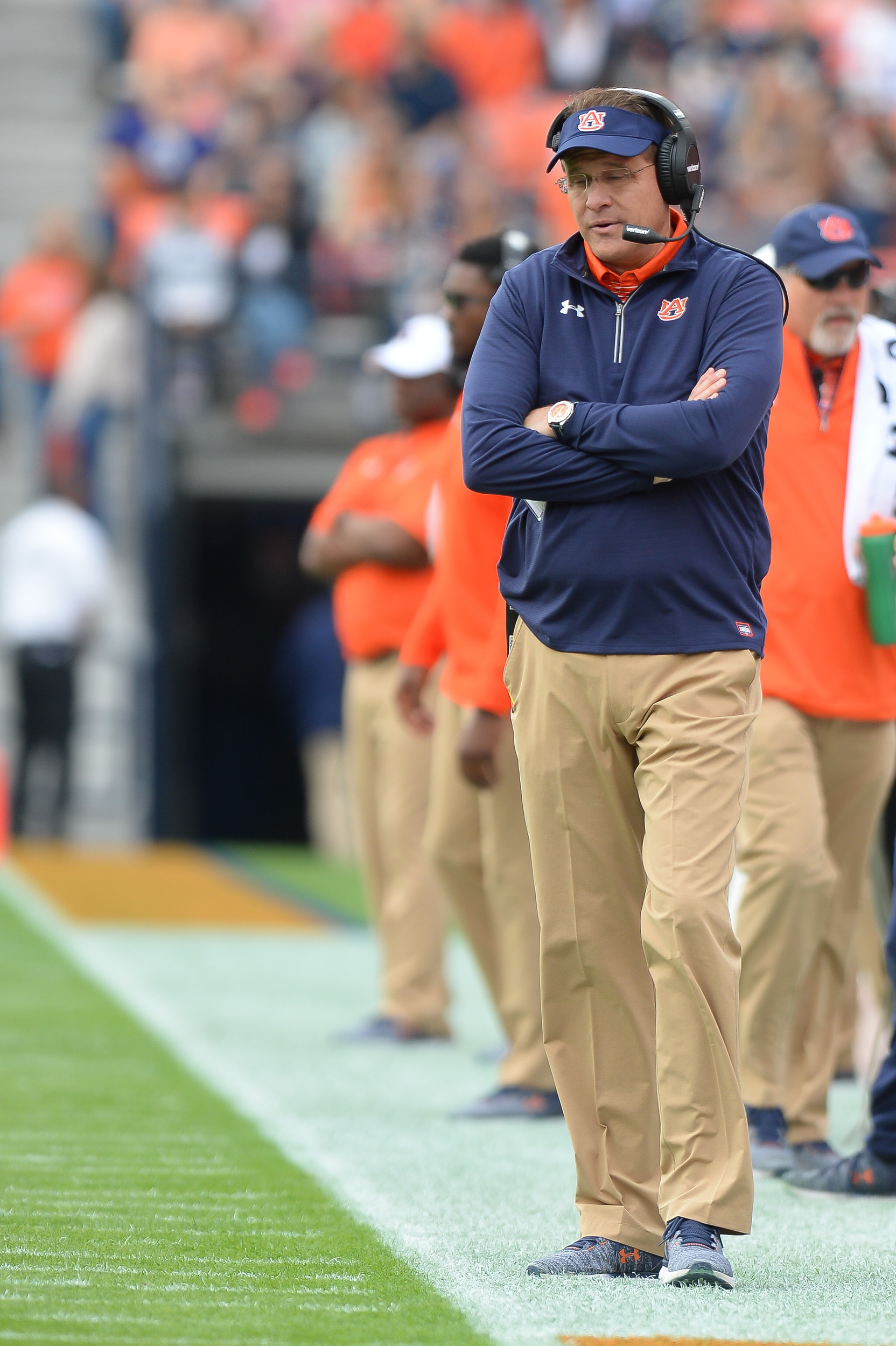 Auburn Tigers head coach Gus Malzahn looks on during the first half of Saturday's game, at Jordan-Hare Stadium.