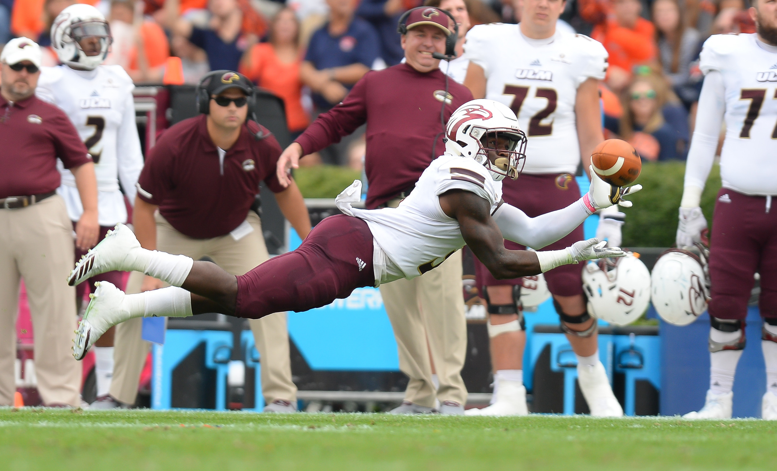 Louisiana Monroe Warhawks wide receiver Marcus Green (3) makes a diving catch during the first half of Saturday's game, at Jordan-Hare Stadium.