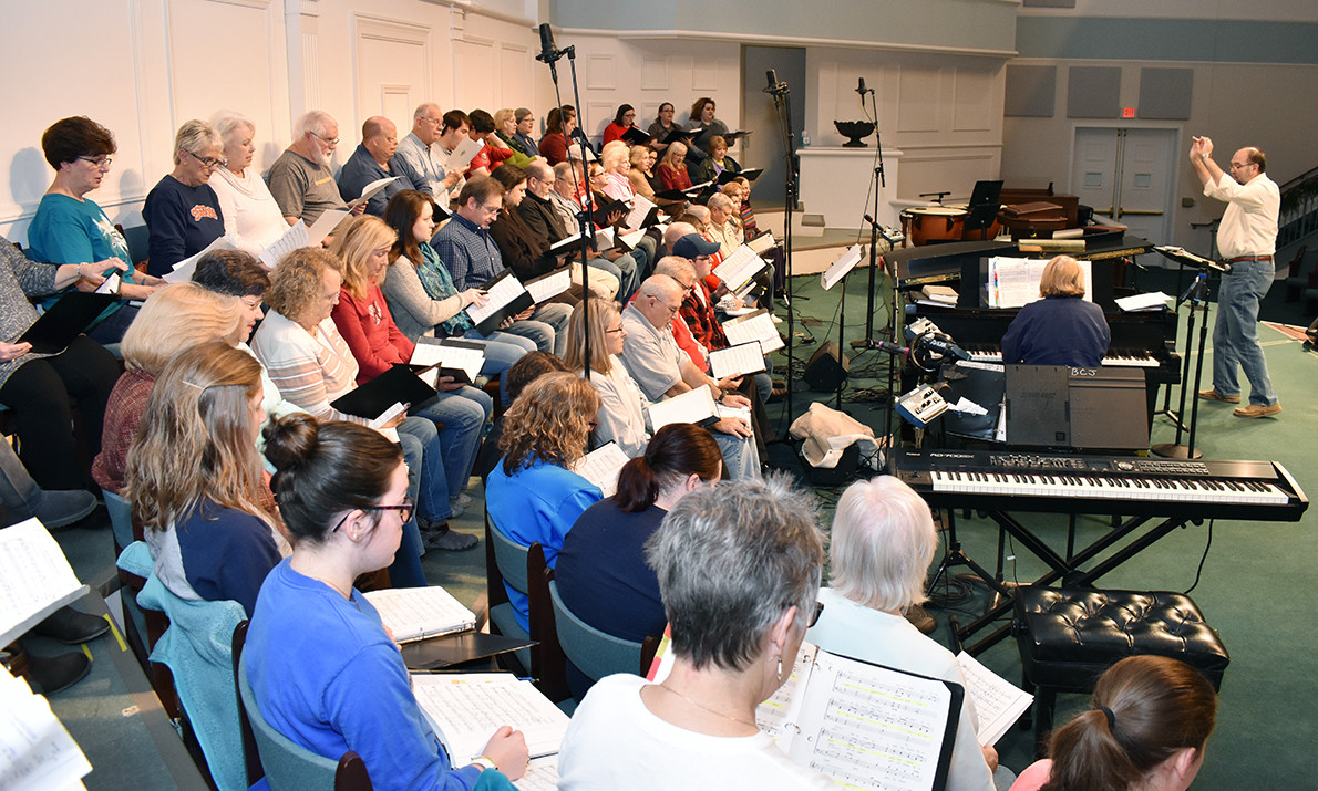 "Dr. John Stallsmith directs the Walker County Christian Chorus during a recent rehearsal for Handel's ""Messiah."""