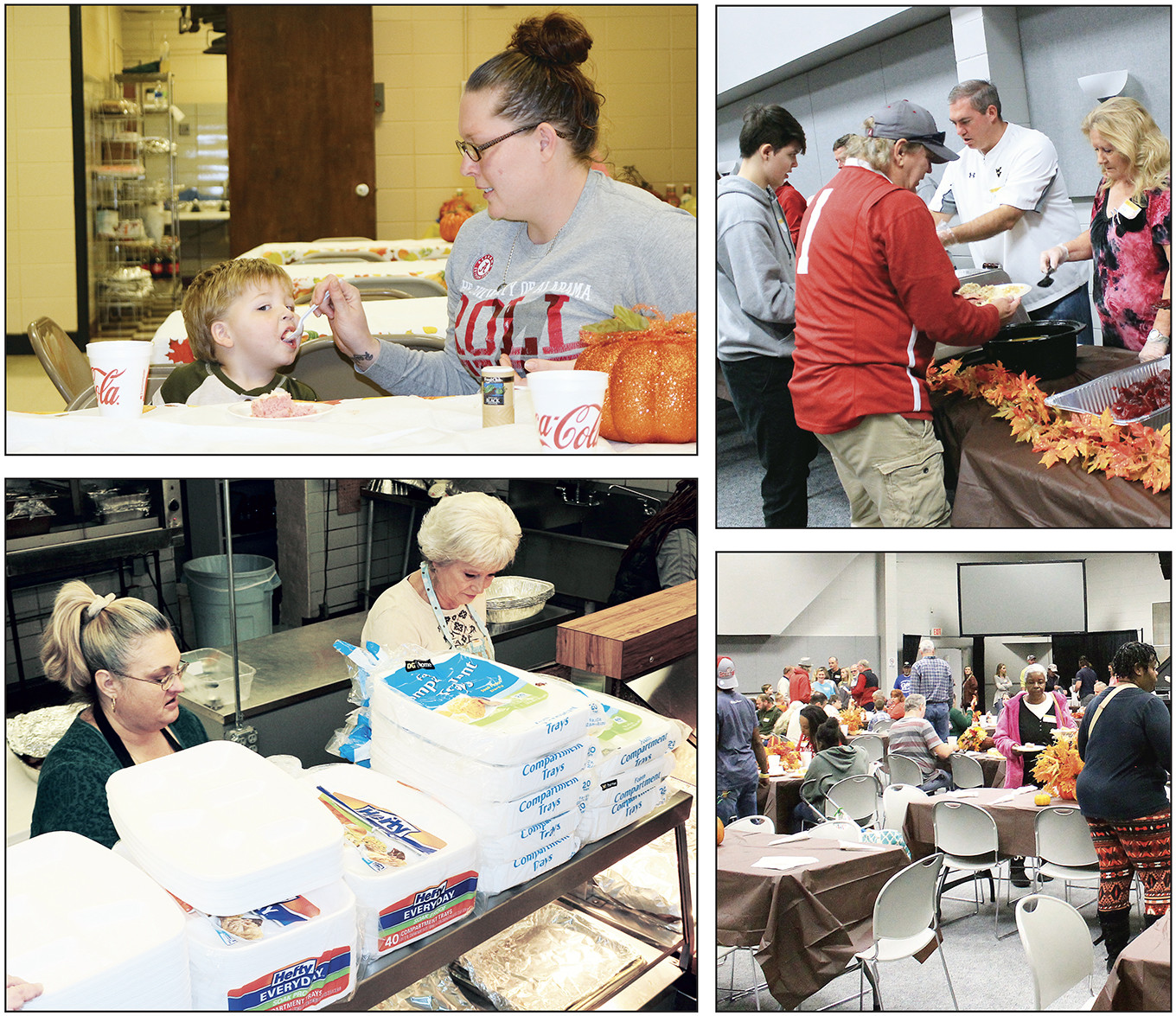 At left, the Town of Parrish hosted a community Thanksgiving meal on Thursday at the Parrish Community Center. At right, Glory Fellowship Baptist Church hosted its annual Thanksgiving meal for the community at the Jasper Civic Center.