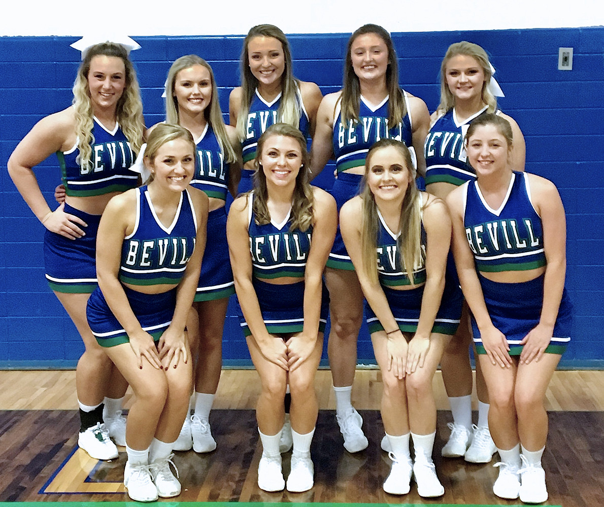 Cheerleaders for the 2017-2018 season at the Jasper campus of Bevill State Community College are, front row from left, Stori Brown, Courtney Woodard, Rachel Wise and Camri Guerra; and back row, Ryan Cox,    Gracie Woods, Kenna Alexander, Dacey Taylor and Tori Busby.