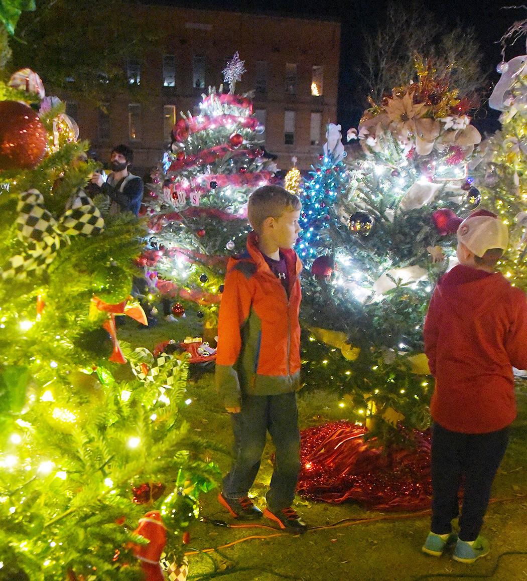 A large crowd was on hand in downtown Jasper Friday for the kickoff to this year's Festival of Lights, which serves as a fundraiser for Hope for Women. The 62 trees that are part of this year's Festival of Lights will be lit from dusk until midnight each night through the end of December.