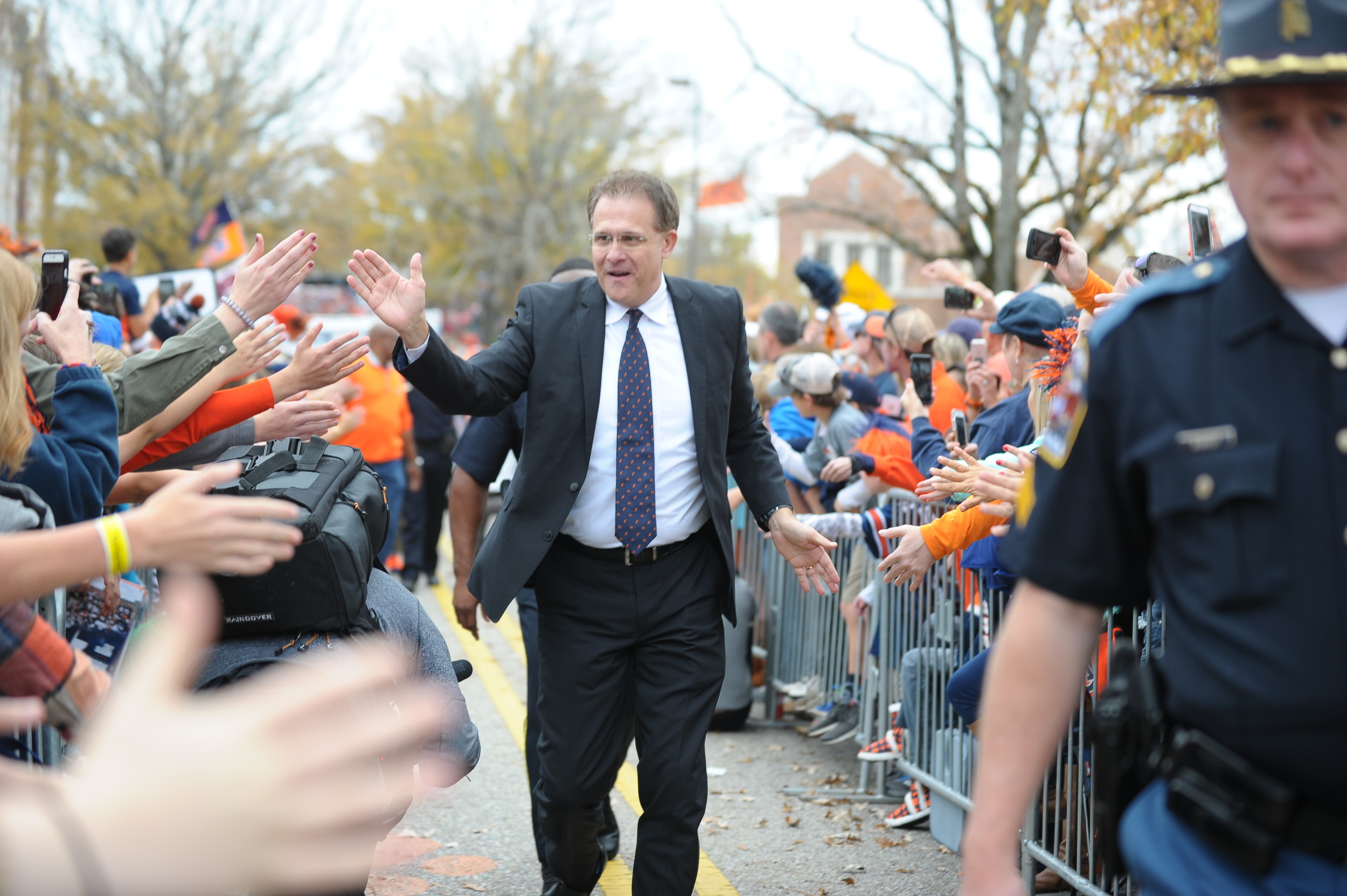 Auburn Tigers head coach Gus Malzahnduring Tiger Walk prior to Saturday's game, at Jordan-Hare Stadium.