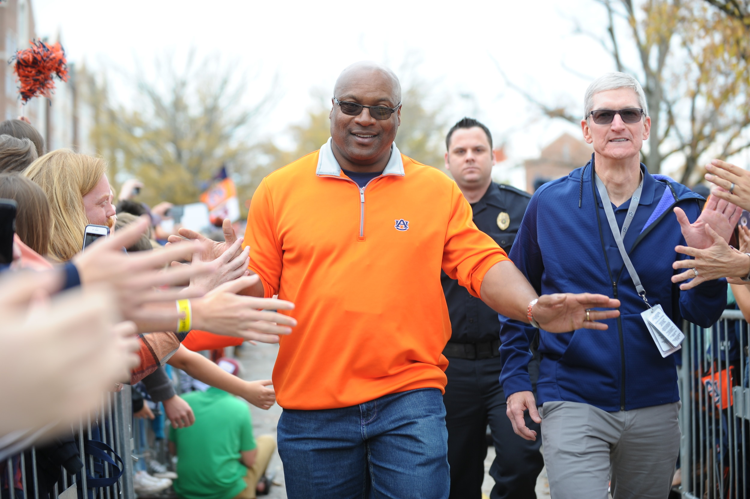 Bo Jackson and Apple's Tim Cook during Tiger Walk prior to Saturday's game, at Jordan-Hare Stadium.