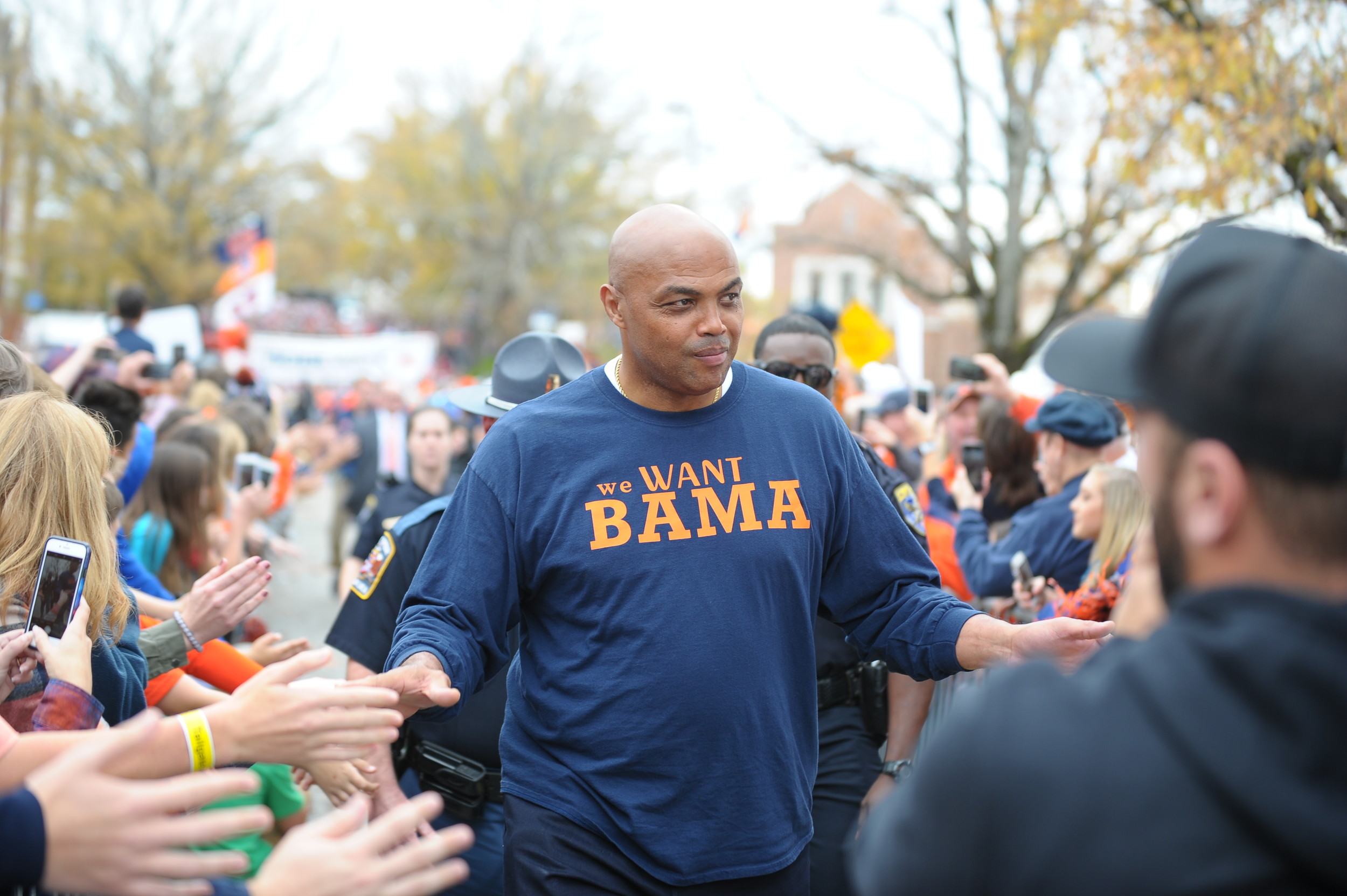 Former Auburn basketball great Charles Barkley interacts with fans during Tiger Walk prior to Saturday's game, at Jordan-Hare Stadium.