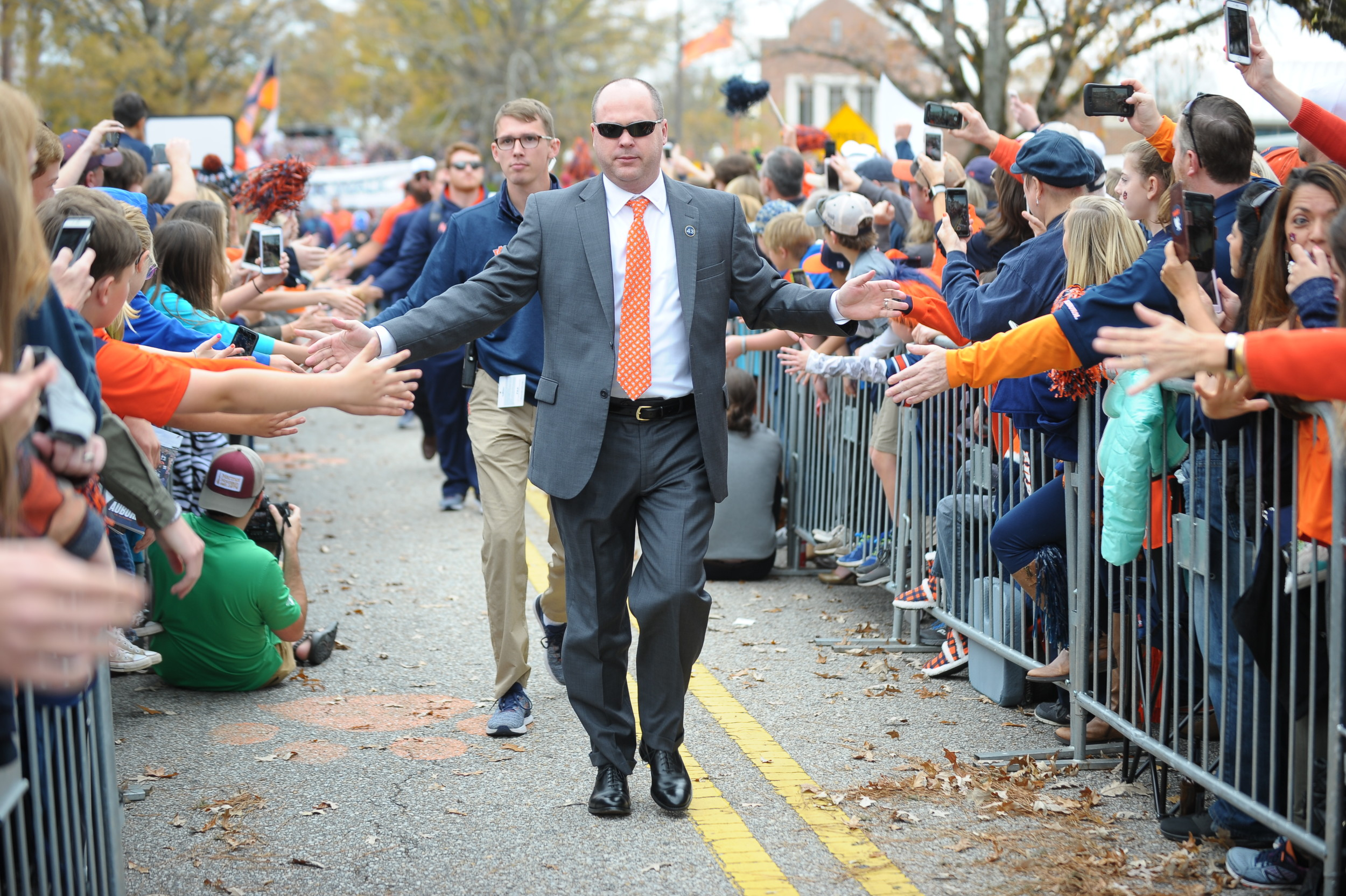 Auburn Tigers offensive coordinator Chip Lindsey during Tiger Walk prior to Saturday's game, at Jordan-Hare Stadium.