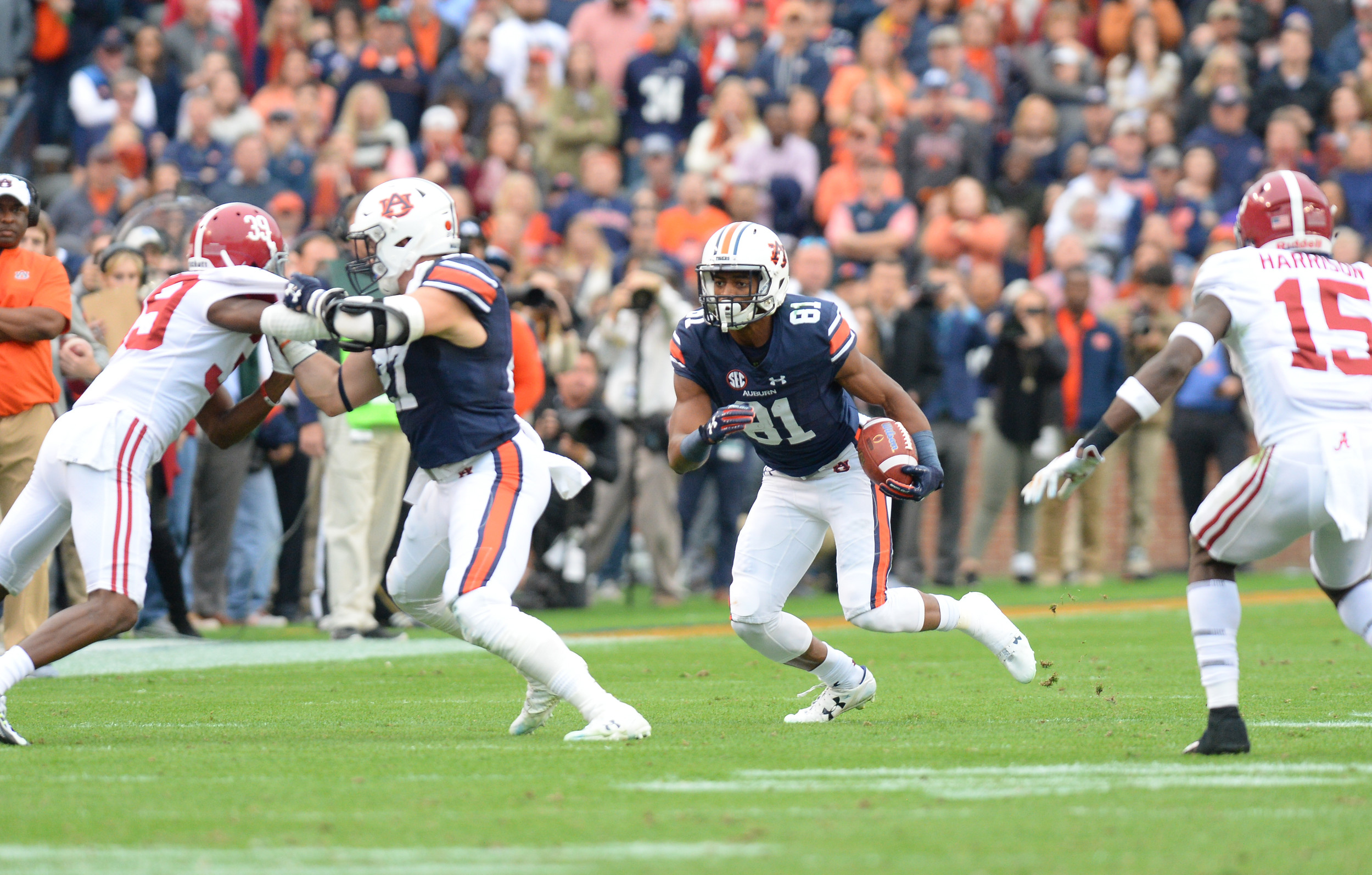 Auburn Tigers wide receiver Darius Slayton (81) runs behind the block of Auburn Tigers fullback Chandler Cox (27) during the first half of Saturday's game, at Jordan-Hare Stadium.