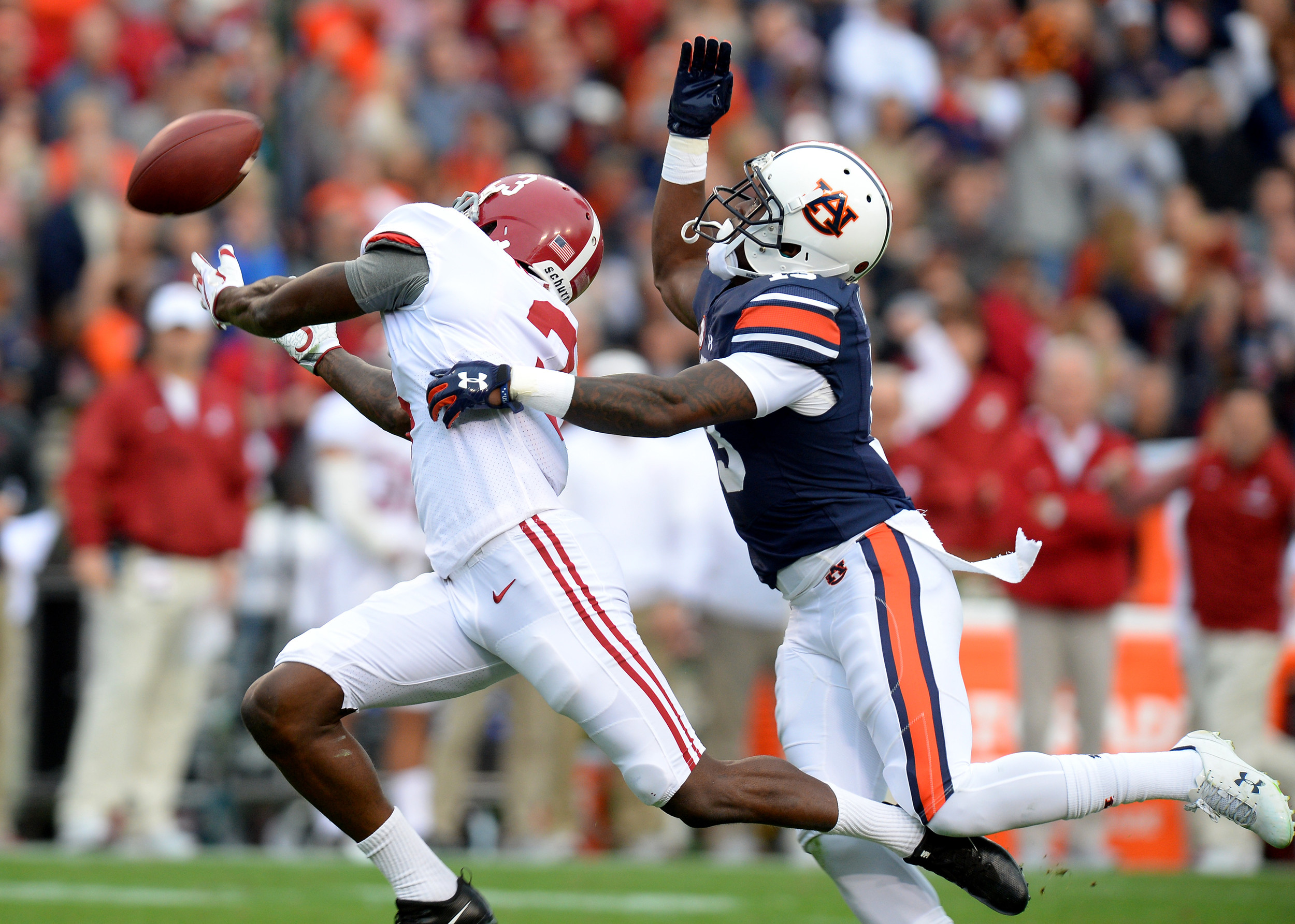 From the first half of the NCAA football game between the Alabama Crimson Tide and the Auburn Tigers on Nov. 25, 2017, at Jordan-Hare Stadium in Auburn, Ala. (Photo by Jeff Johnsey)