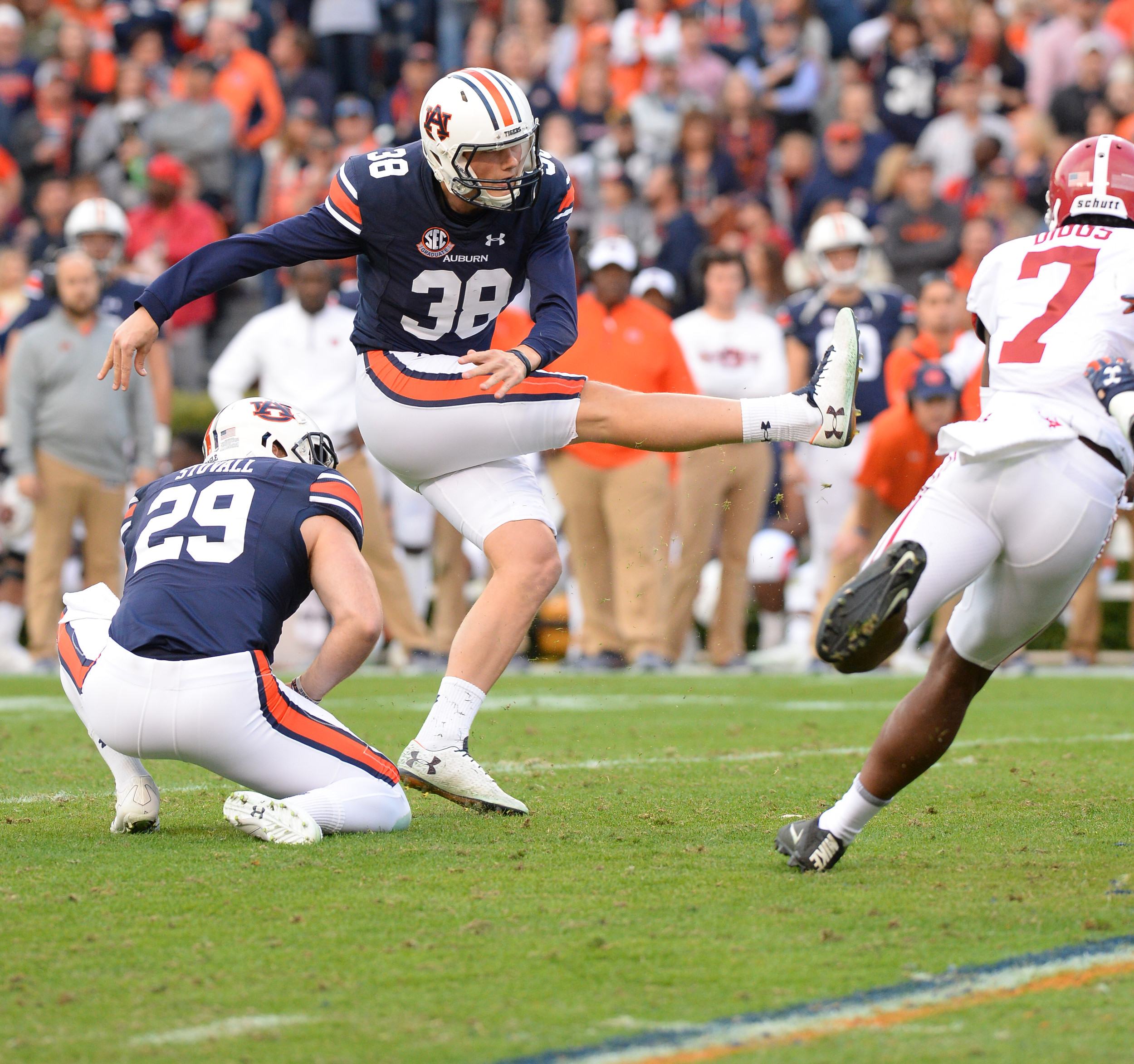 Auburn Tigers place kicker Daniel Carlson (38) kicks a field goal during the first half of Saturday's game, at Jordan-Hare Stadium.