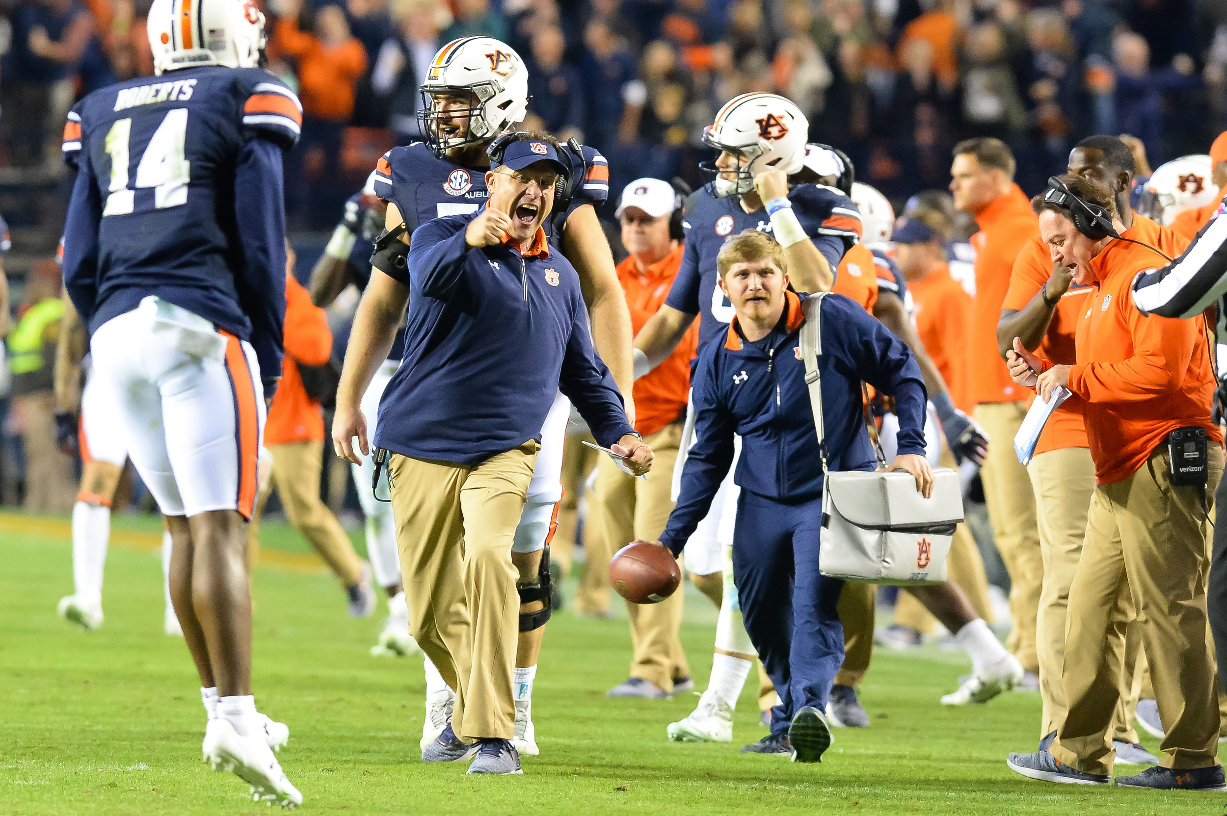 Auburn Tigers head coach Guz Malzahn reacts to a fourth down stop during the second half of Saturday's game, at Jordan-Hare Stadium.