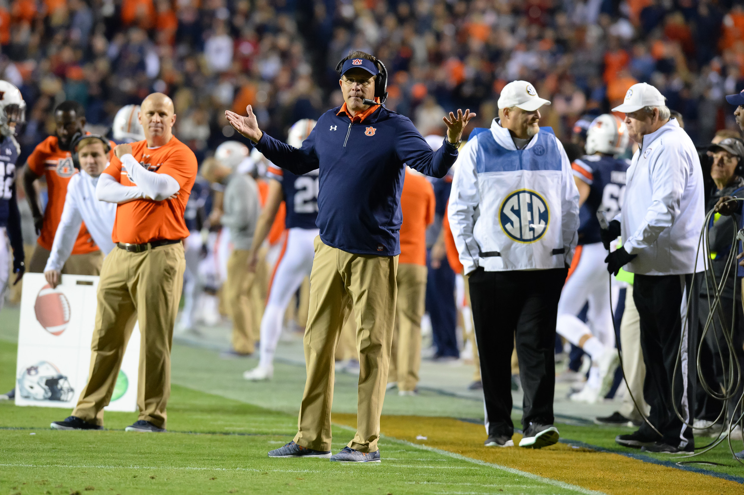 Auburn Tigers head coach Guz Malzahn reacts to a call during the second half of Saturday's game, at Jordan-Hare Stadium.