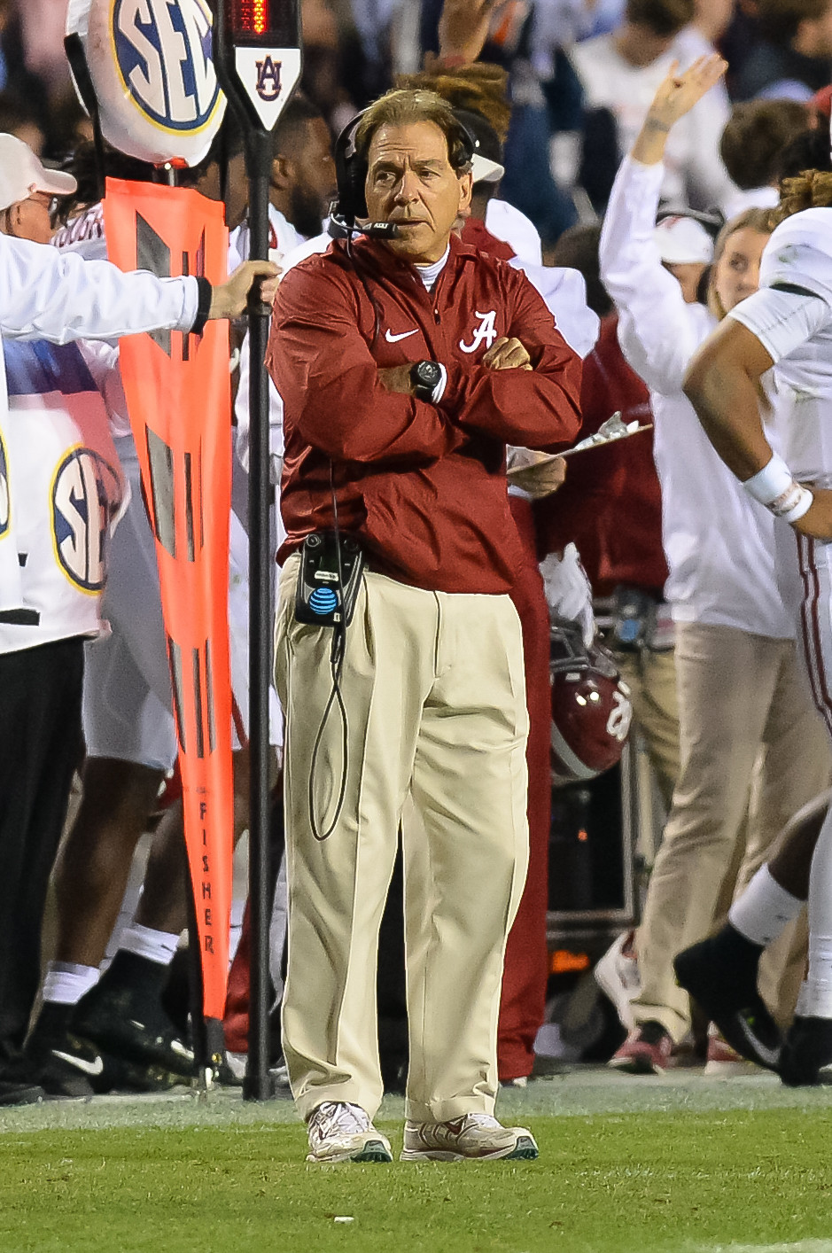 Alabama Crimson Tide head coach Nick Saban looks on during the second half of Saturday's game, at Jordan-Hare Stadium.
