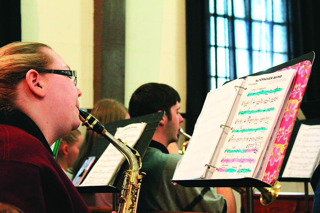 "Members of the Bevill State Community College Jazz Band practice ""Nutcracker Swing"" Monday afternoon for a Christmas concert that will be held Thursday, Dec. 7, at 7 p.m. at Jasper's First United Methodist Church."