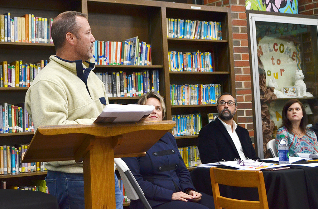 Dustin Beaty, far left, addressed the Jasper City Board of Education Monday night to talk about options for developing a cross country track on the Jasper High School campus.