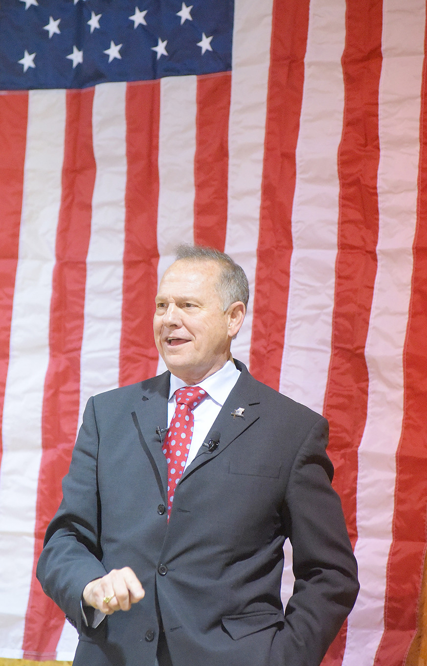 Former Alabama Chief Justice Roy Moore spoke Thursday night at Bryan Baptist Church in Dora in an event that was tabbed as a 'God and Country' service.