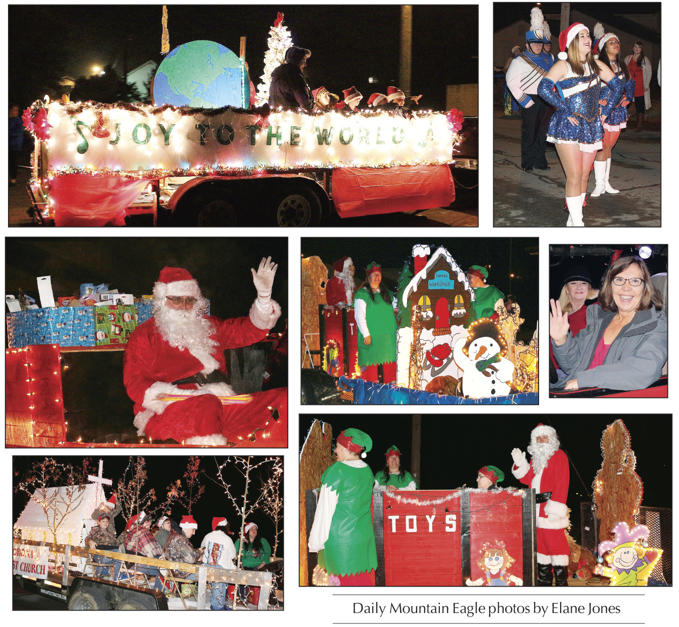Colorful floats, the Curry High School Marching Band and Santa were part of the annual Christmas Parade held in Parrish Thursday night. The floats were sponsored by various business and churches in the community and were decked out in Christmas lights and decorations to get everyone in the holiday spirit.