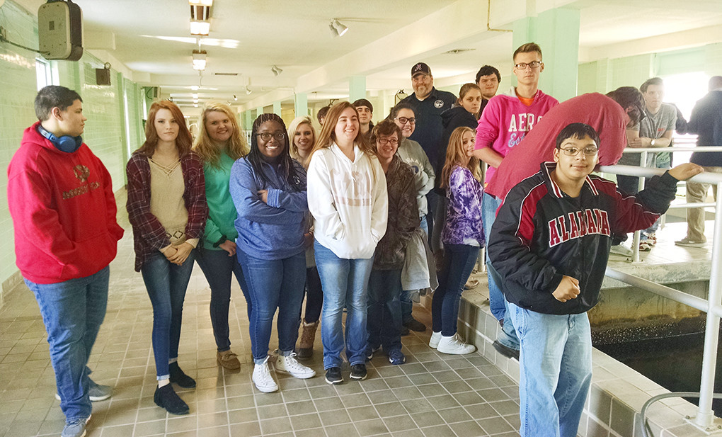 Oakman High School students are pictured touring the Jasper Waterworks and Sewer Board's water treatment plant.