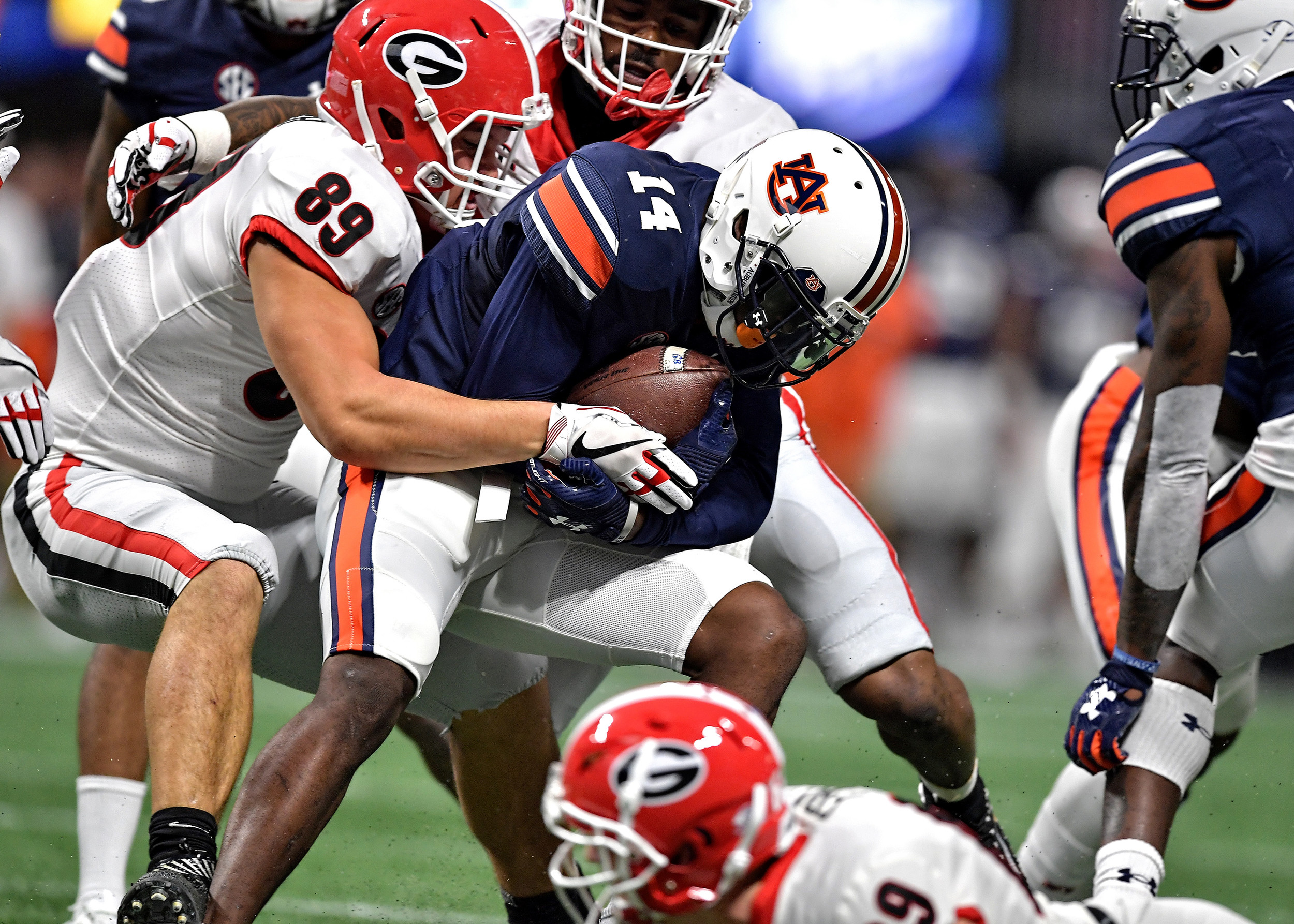 From the first half of the 2017 SEC Championship Game between the Georgia Bulldogs and the Auburn Tigers on Dec. 2, 2017, at the Mercedes-Benz Stadium in Atlanta, Ga. Georgia would go onto win 28-7. (Photo by Lee Walls)