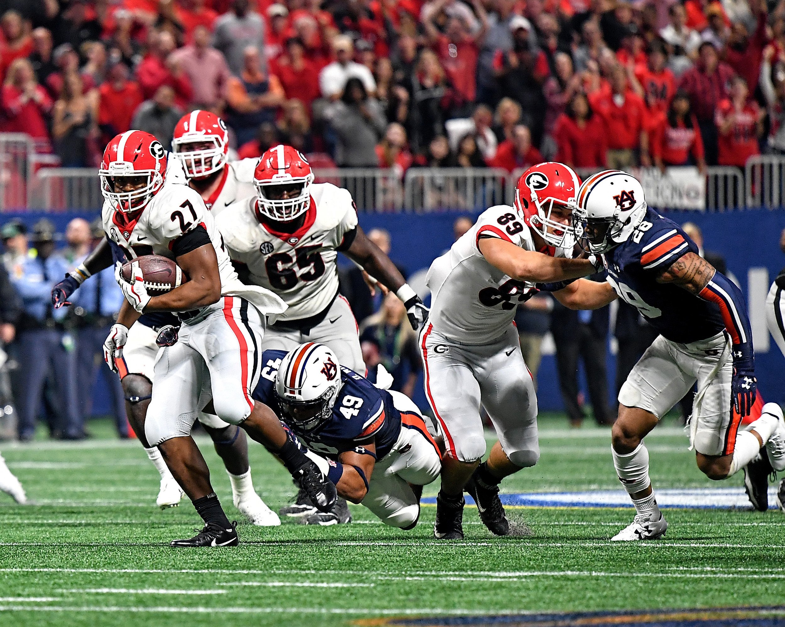 From the second half of the 2017 SEC Championship Game between the Georgia Bulldogs and the Auburn Tigers on Dec. 2, 2017, at the Mercedes-Benz Stadium in Atlanta, Ga. Georgia won 28-7. (Photo by Lee Walls)