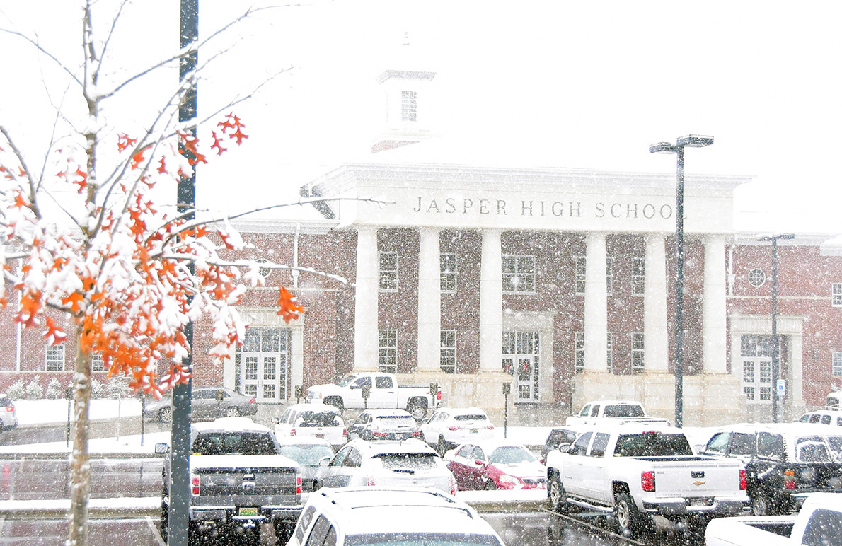 Snowfall was heavy throughout Walker County Friday morning. Jasper High School was a winter wonderland around 11 a.m. Friday. Classes were dismissed at 1:30 p.m.