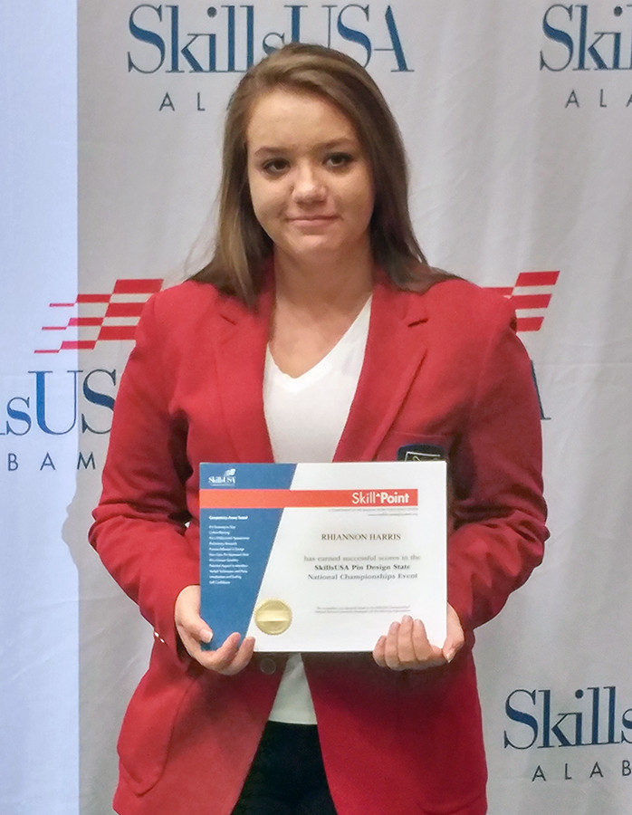 Walker County Center of Technology student Rhiannon Harris, pictured at a SkillsUSA nationals competition, has been recognized as one of the best graphic design students in the nation.