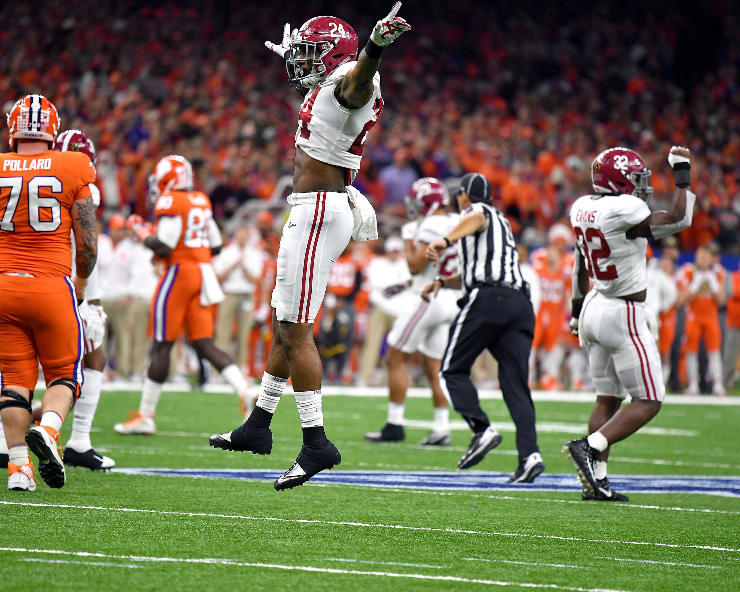A defensive celebration in the first half of the 2018 AllState Sugar Bowl featuring the Clemson Tigers against the Alabama Crimson Tide on Jan. 1, 2018, at the Mercedes-Benz SuperDome in New Orleans, La. Alabama won the game 24-6. (Photo by Lee Walls)