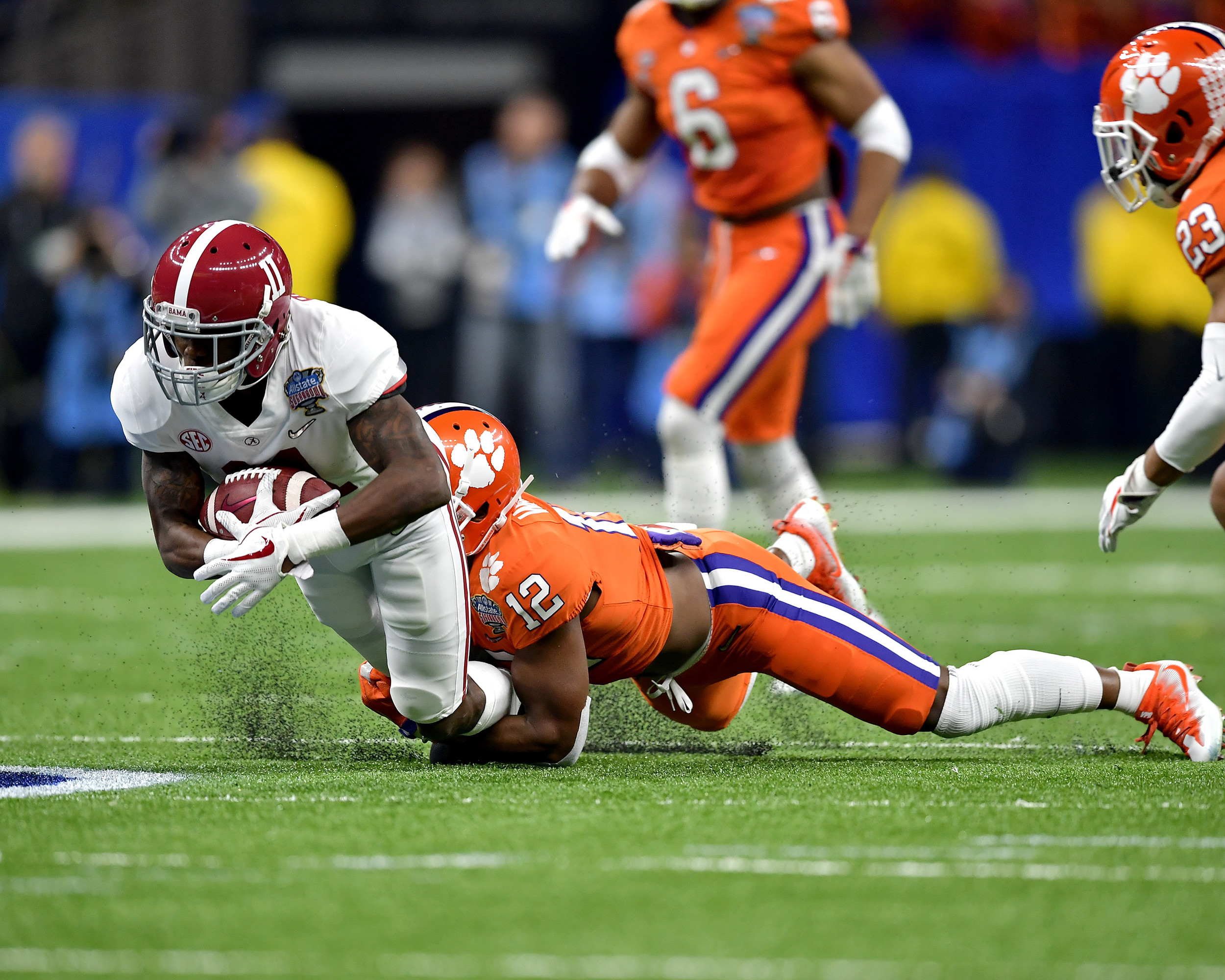 Alabama Crimson Tide wide receiver Henry Ruggs III (11) is tackled after a reception in the first half of the 2018 AllState Sugar Bowl on Jan. 1, 2018, at the Mercedes-Benz SuperDome in New Orleans, La. Alabama won the game 24-6. (Photo by Lee Walls)