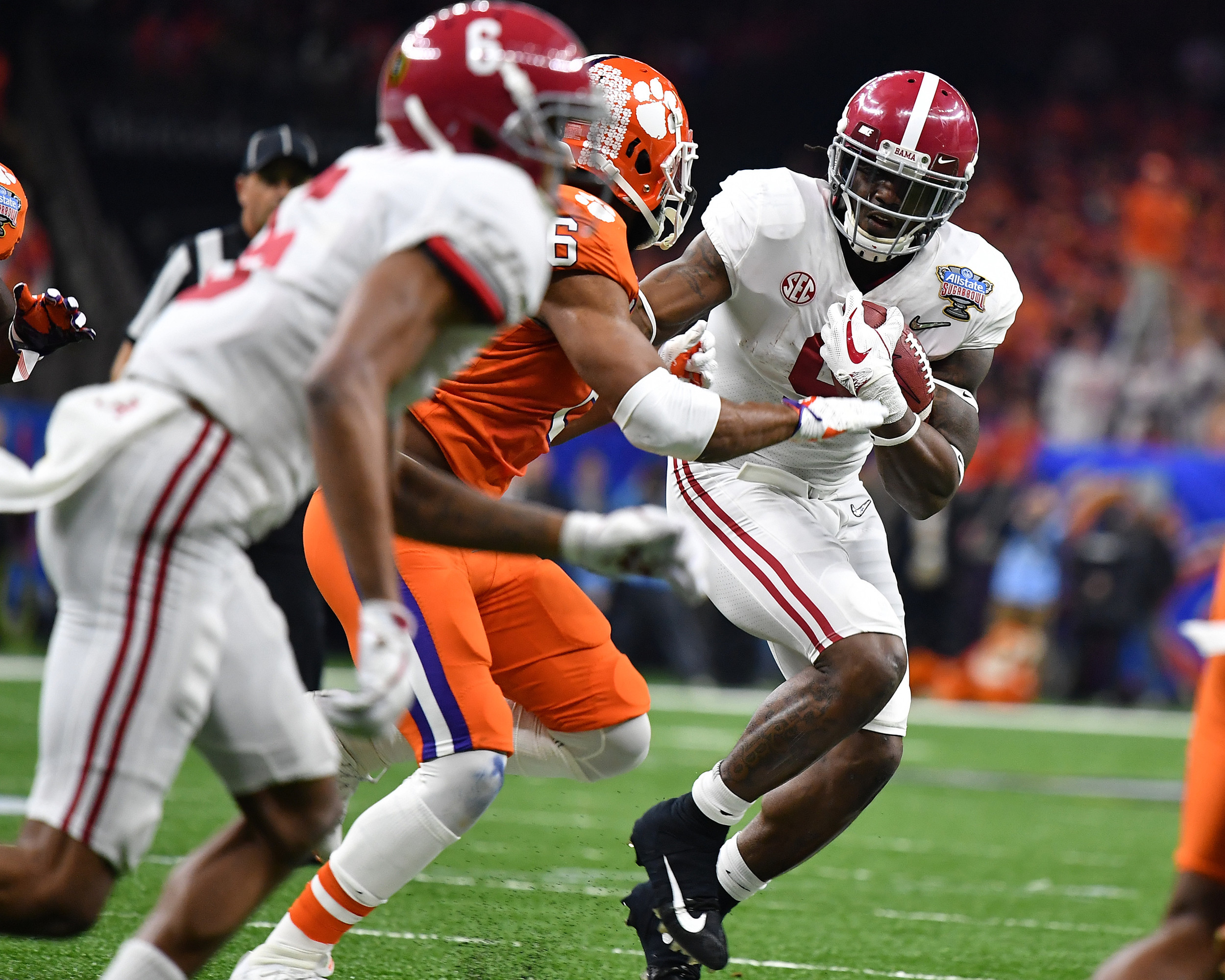 Alabama Crimson Tide running back Bo Scarbrough (9) looks for room to fun in the first half of the 2018 AllState Sugar Bowl on Jan. 1, 2018, at the Mercedes-Benz SuperDome in New Orleans, La. Alabama won the game 24-6. (Photo by Lee Walls)
