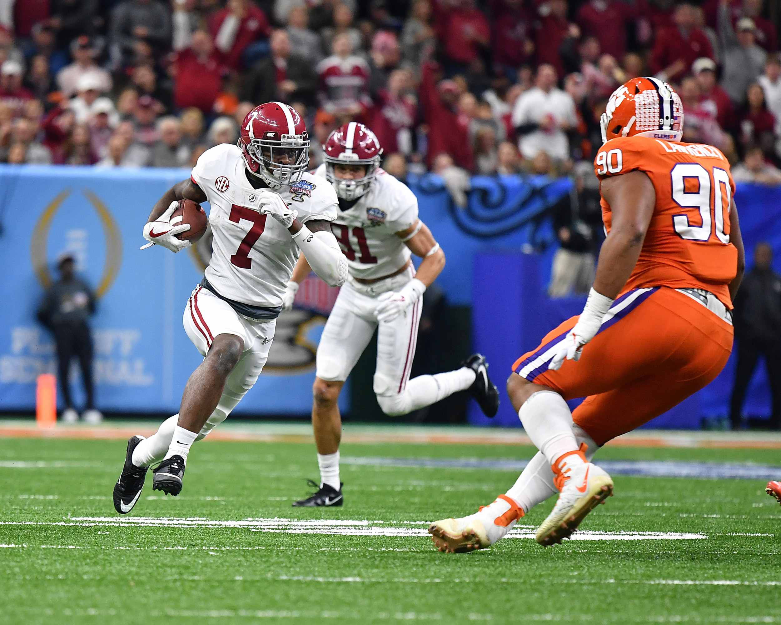 Alabama Crimson Tide defensive back Trevon Diggs (7) on a punt return in the first half of the 2018 AllState Sugar Bowl on Jan. 1, 2018, at the Mercedes-Benz SuperDome in New Orleans, La. Alabama won the game 24-6. (Photo by Lee Walls)